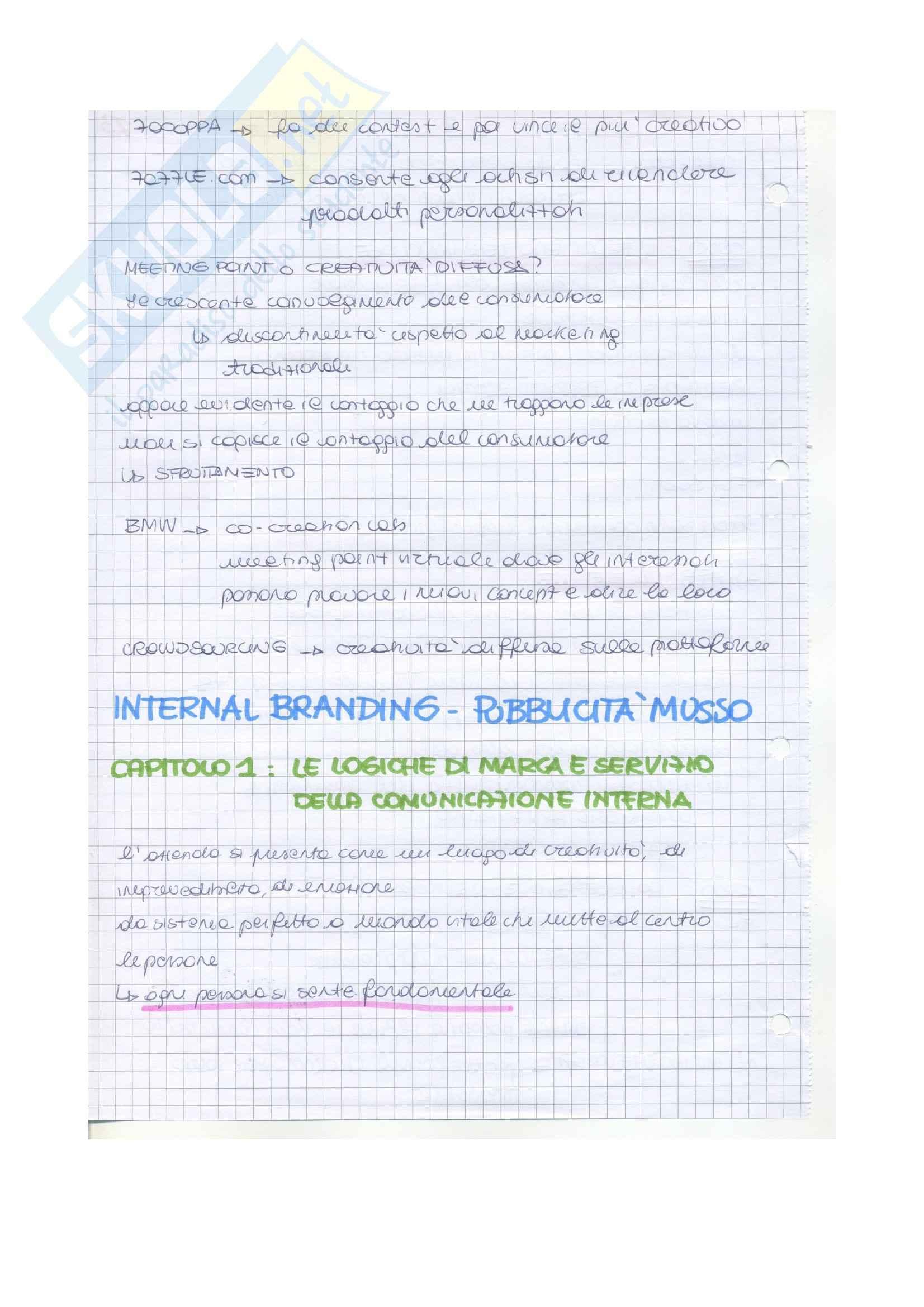 Riassunto esame Linguaggi, prof. Musso, libro consigliato Internal branding: strategia di marca per la cultura di impresa, Musso