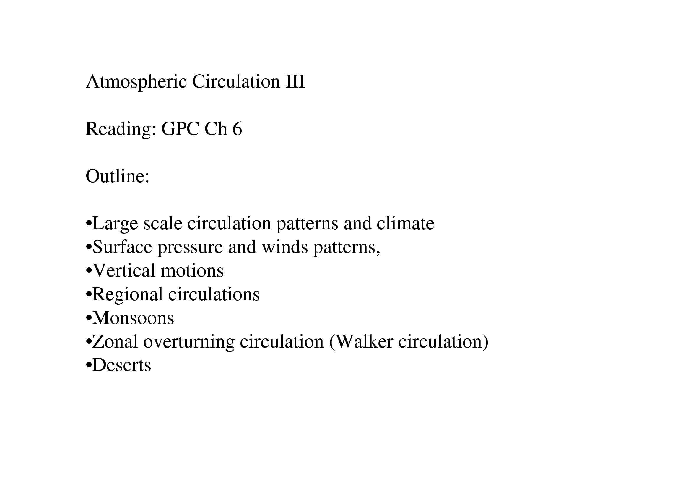 Atmospheric Circulation - Climate and Regional Circulation
