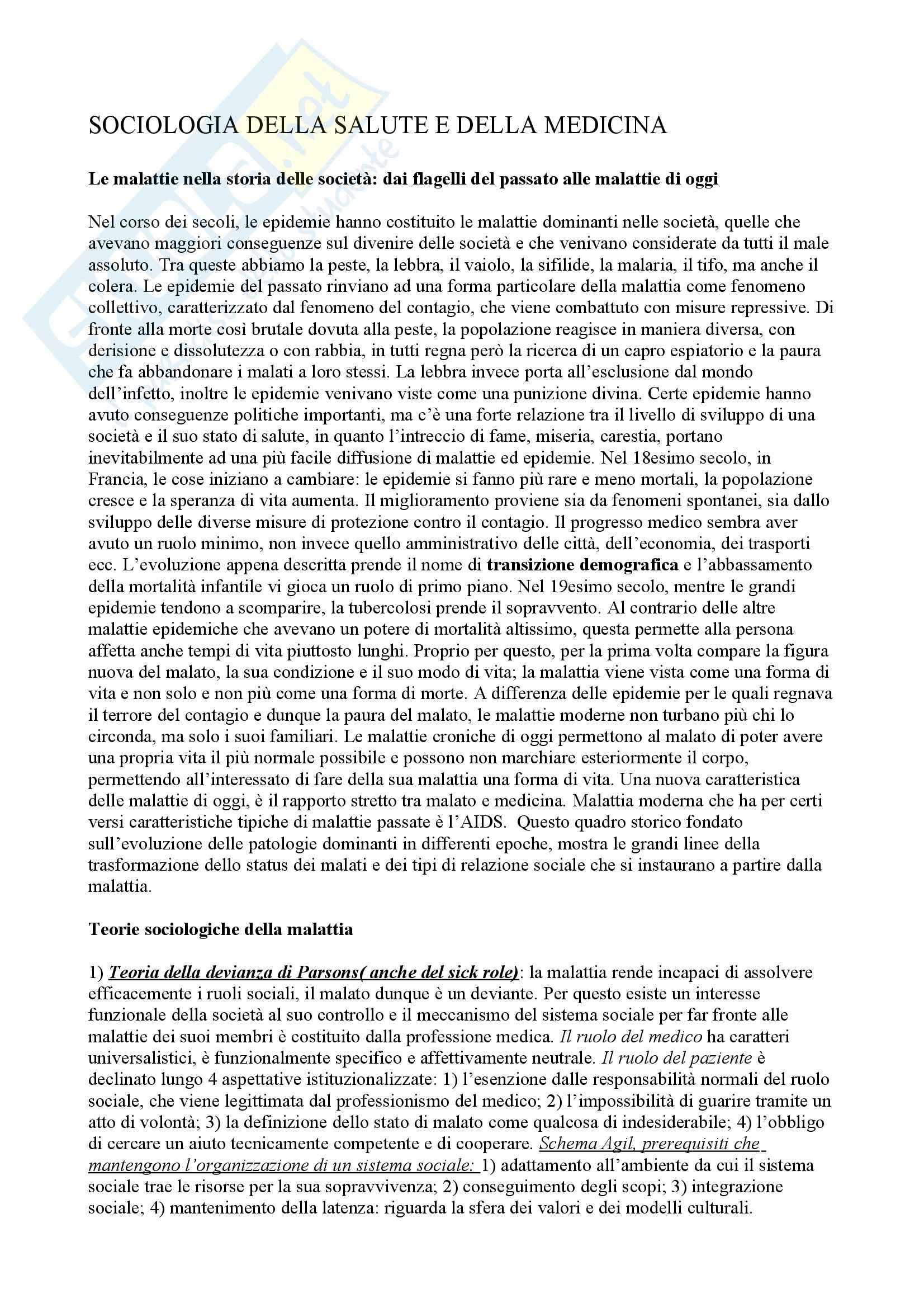 Sociologia della salute e della medicina - Appunti