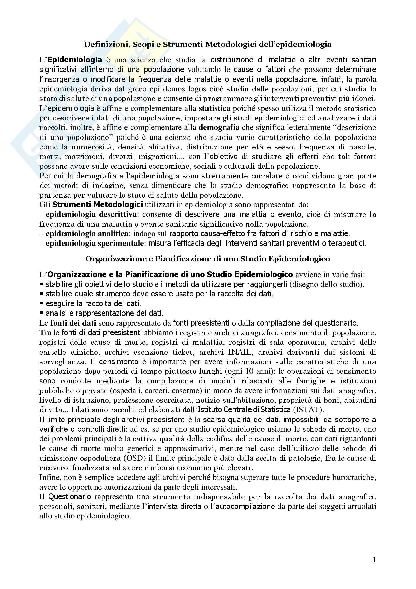 Metodologia Epidemiologica ed Igiene - Corso completo