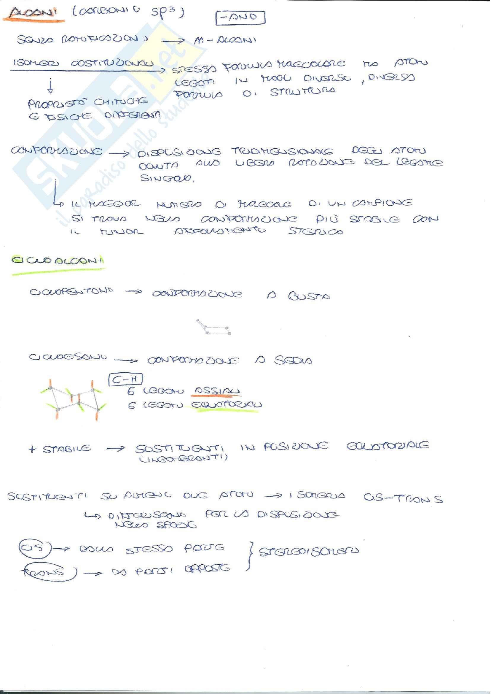 Chimica organica - reazioni di chimica organica: alcani