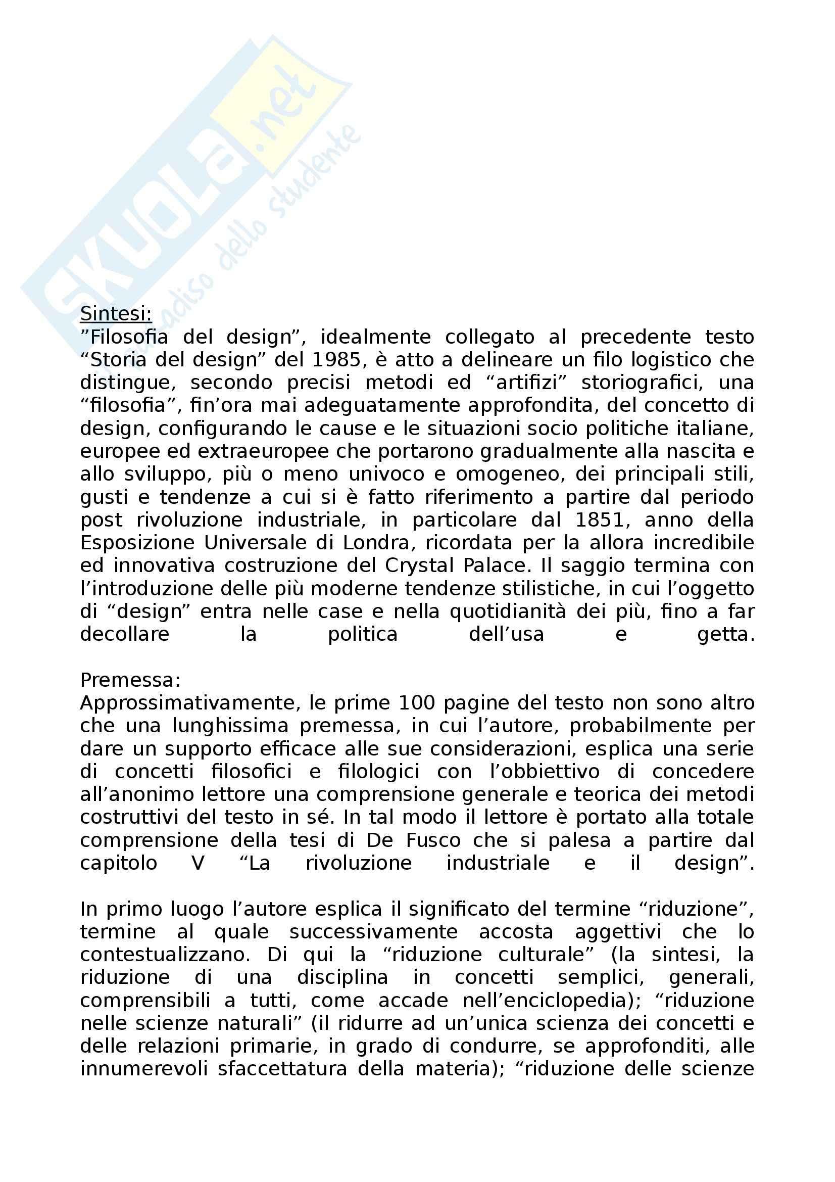 Riassunto esame Storia dell'Architettura dell'Arte e del Design, prof. Irace, libro consigliato Filosofia del Design di De Fusco