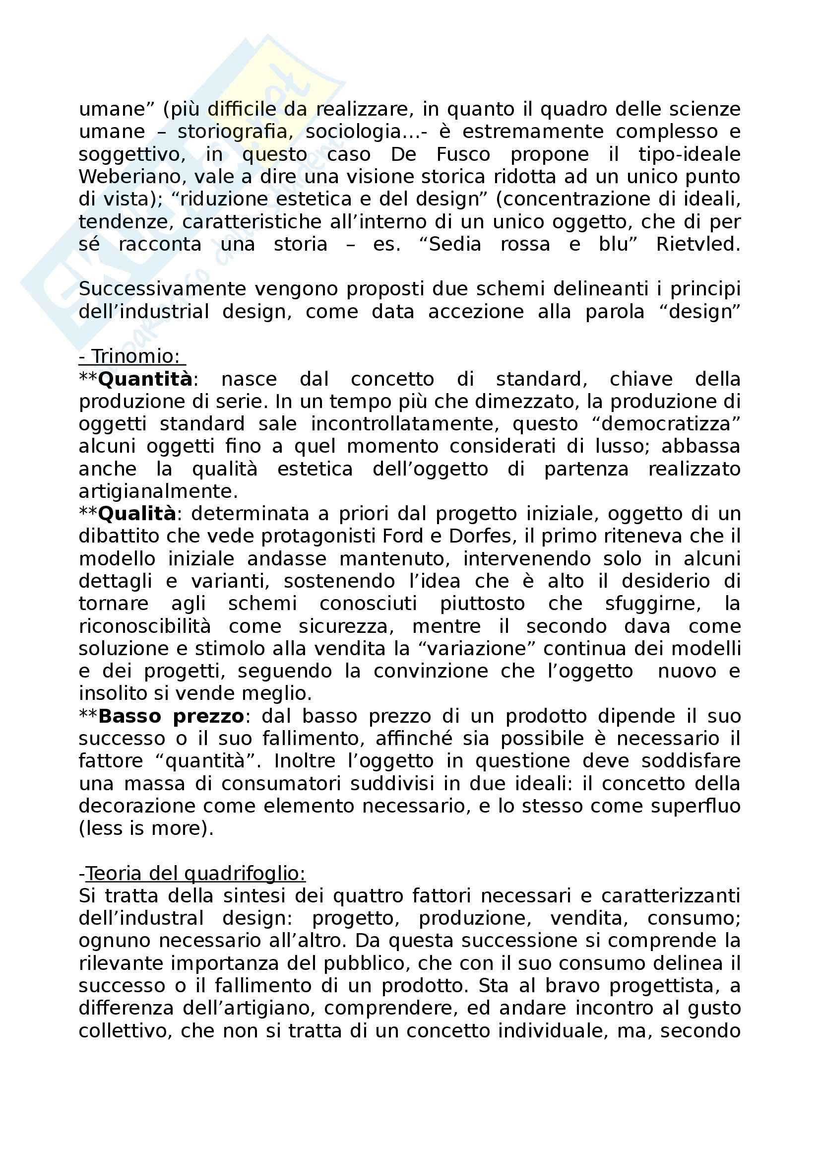 Riassunto esame Storia dell'Architettura dell'Arte e del Design, prof. Irace, libro consigliato Filosofia del Design di De Fusco Pag. 2