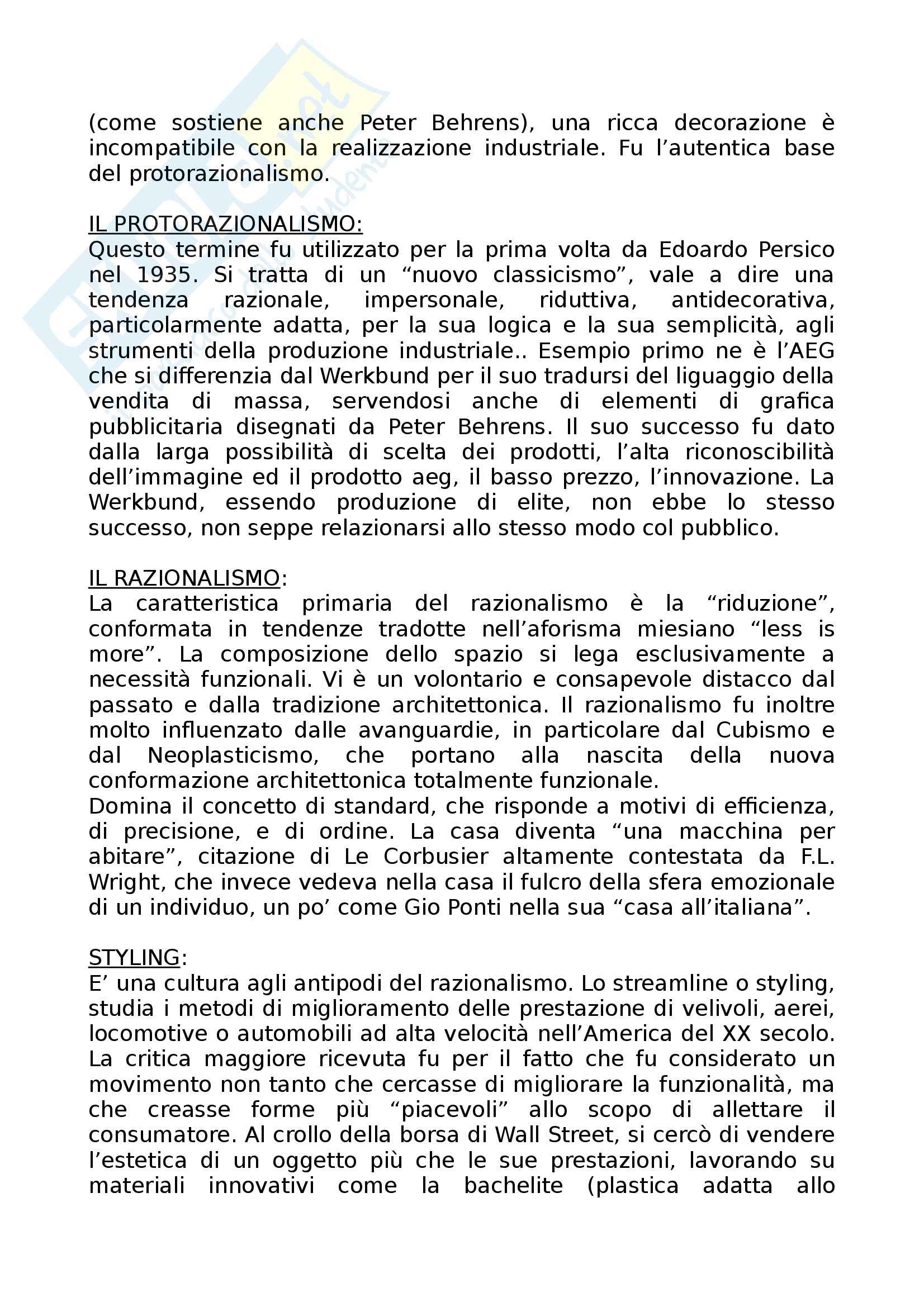 Riassunto esame Storia dell'Architettura dell'Arte e del Design, prof. Irace, libro consigliato Filosofia del Design di De Fusco Pag. 6
