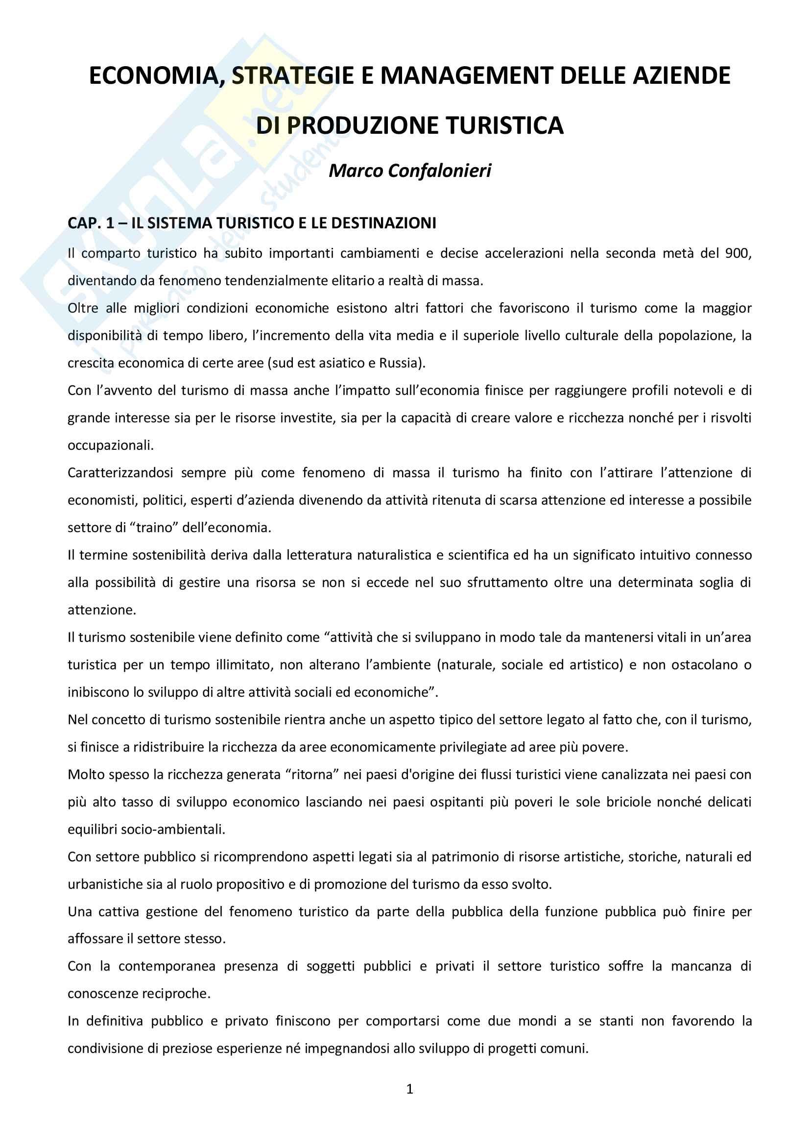 Riassunto esame Economia e gestione delle imprese turistiche, prof. Confalonieri, libro consigliato Economia strategie e management delle aziende di produzione turistica, Confalonieri