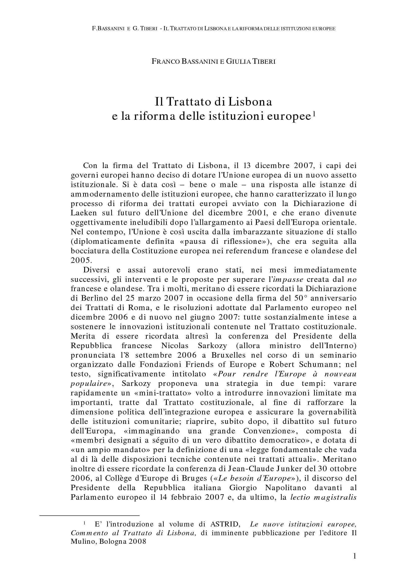 Trattato di Lisbona e Riforma delle Istituzioni Europee