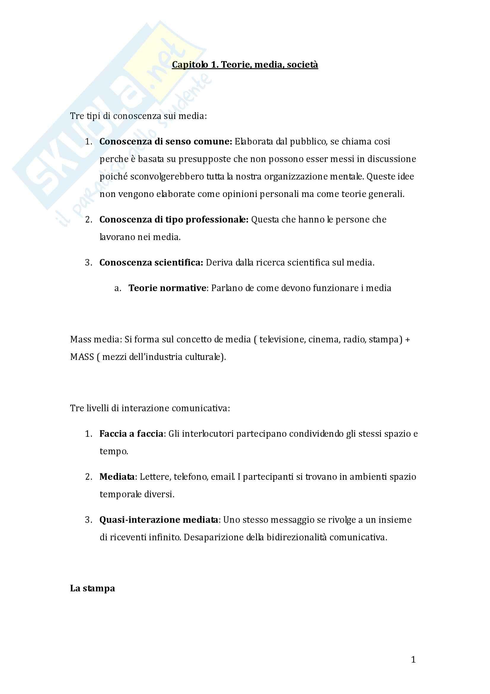 Riassunto esame Teoria e Tecniche delle Comunicazione di massa, prof. Rizza, libro consigliato Teoria dei media, Boni