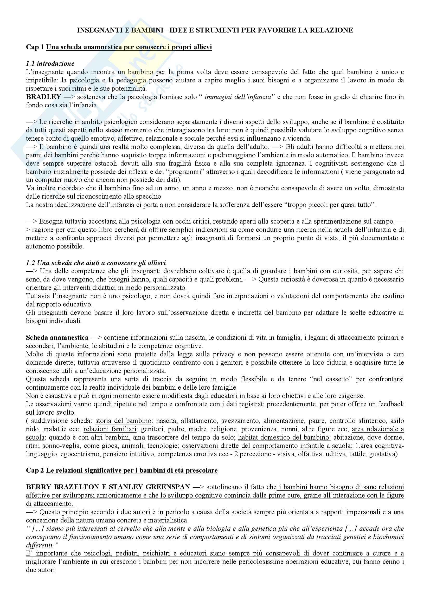 Riassunto esame psicologia dello sviluppo, prof Cadamuro. Libro consigliato Insegnanti e bambini. idee e strumenti per favorire la relazione