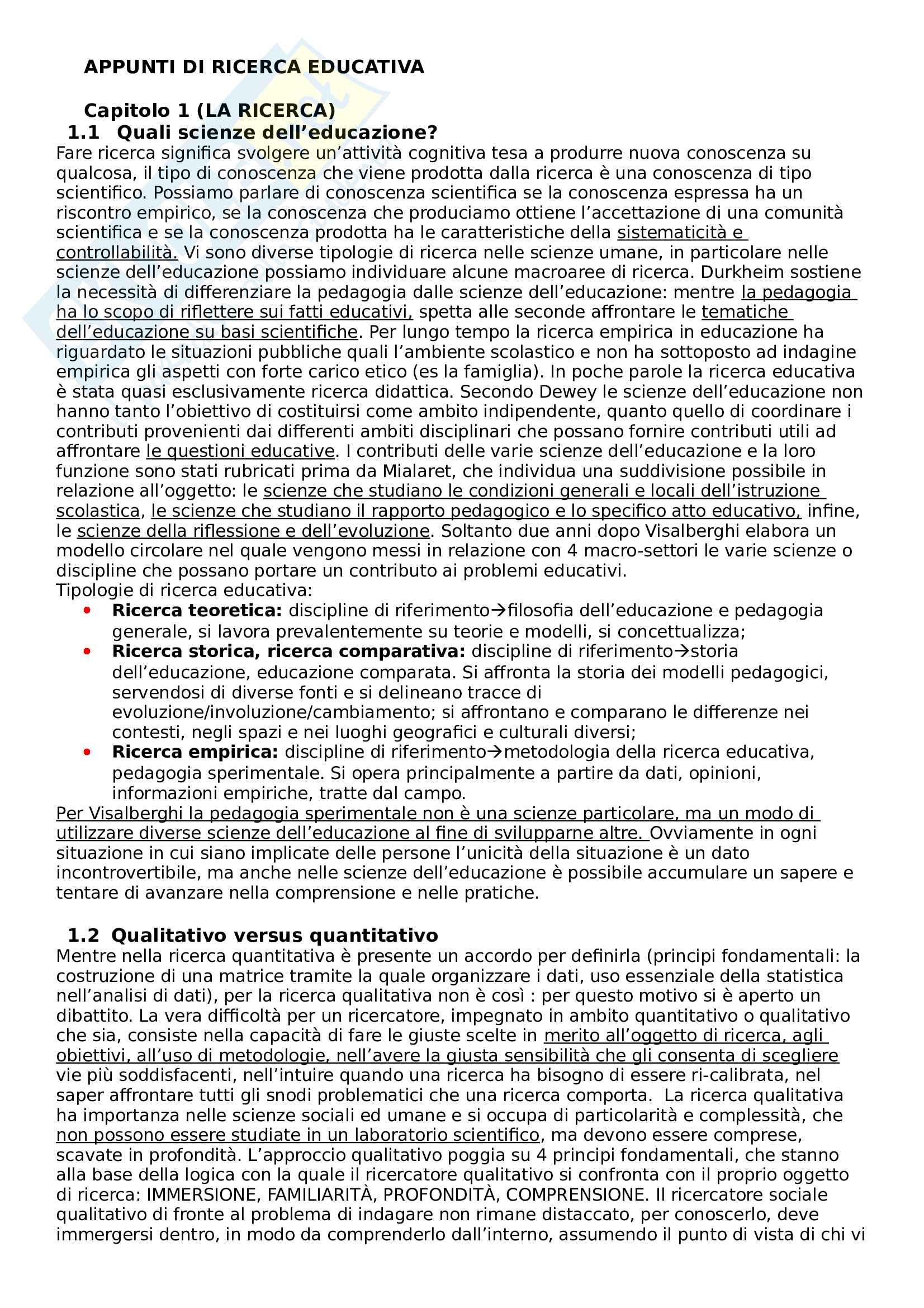 """Riassunto esame Pedagogia Sperimentale, prof. Federico Batini, libro consigliato """"Appunti di ricerca educativa - release 03"""" di Federico Batini"""