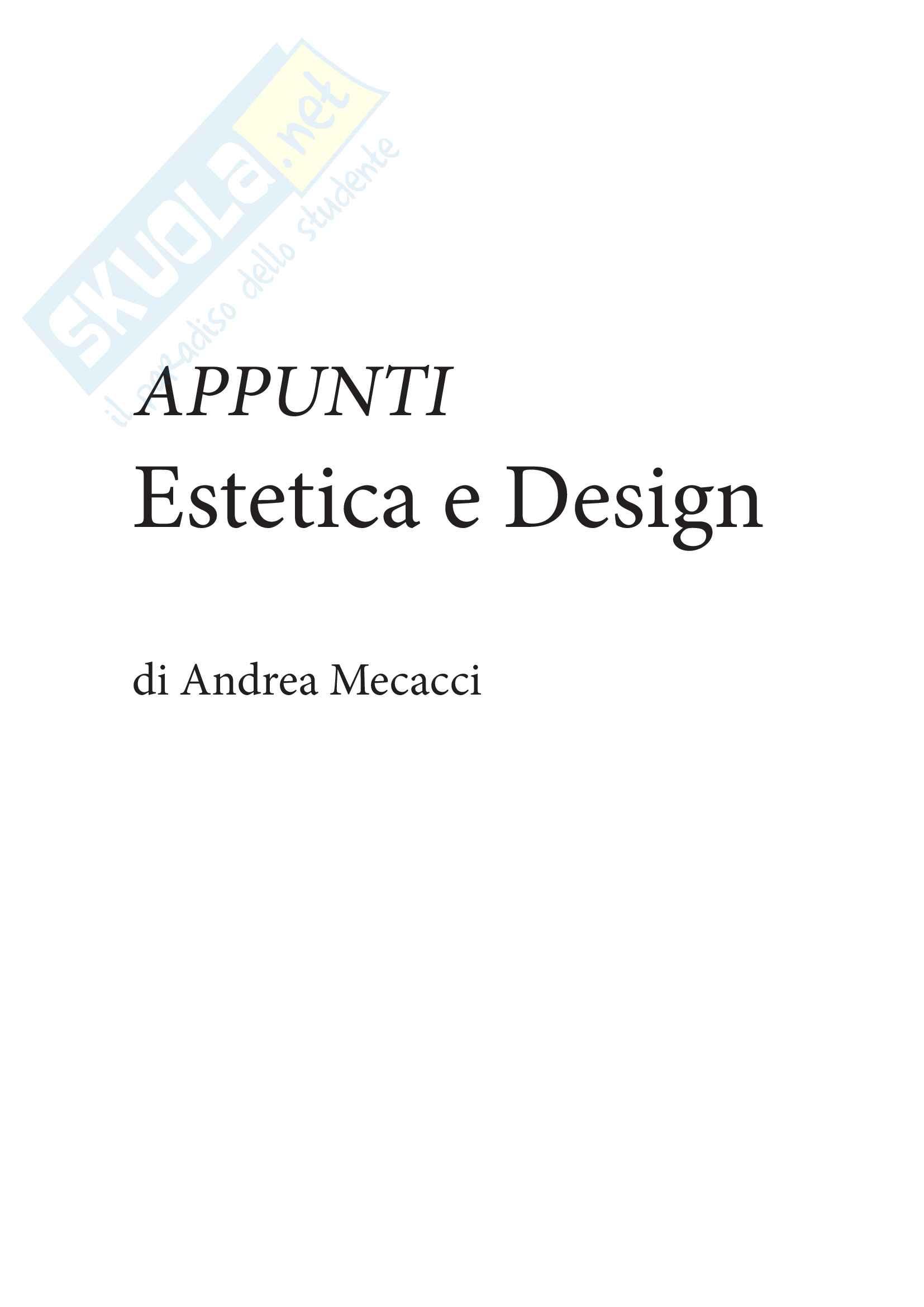 Appunti Esrtetica e design prof Andrea Mecacci