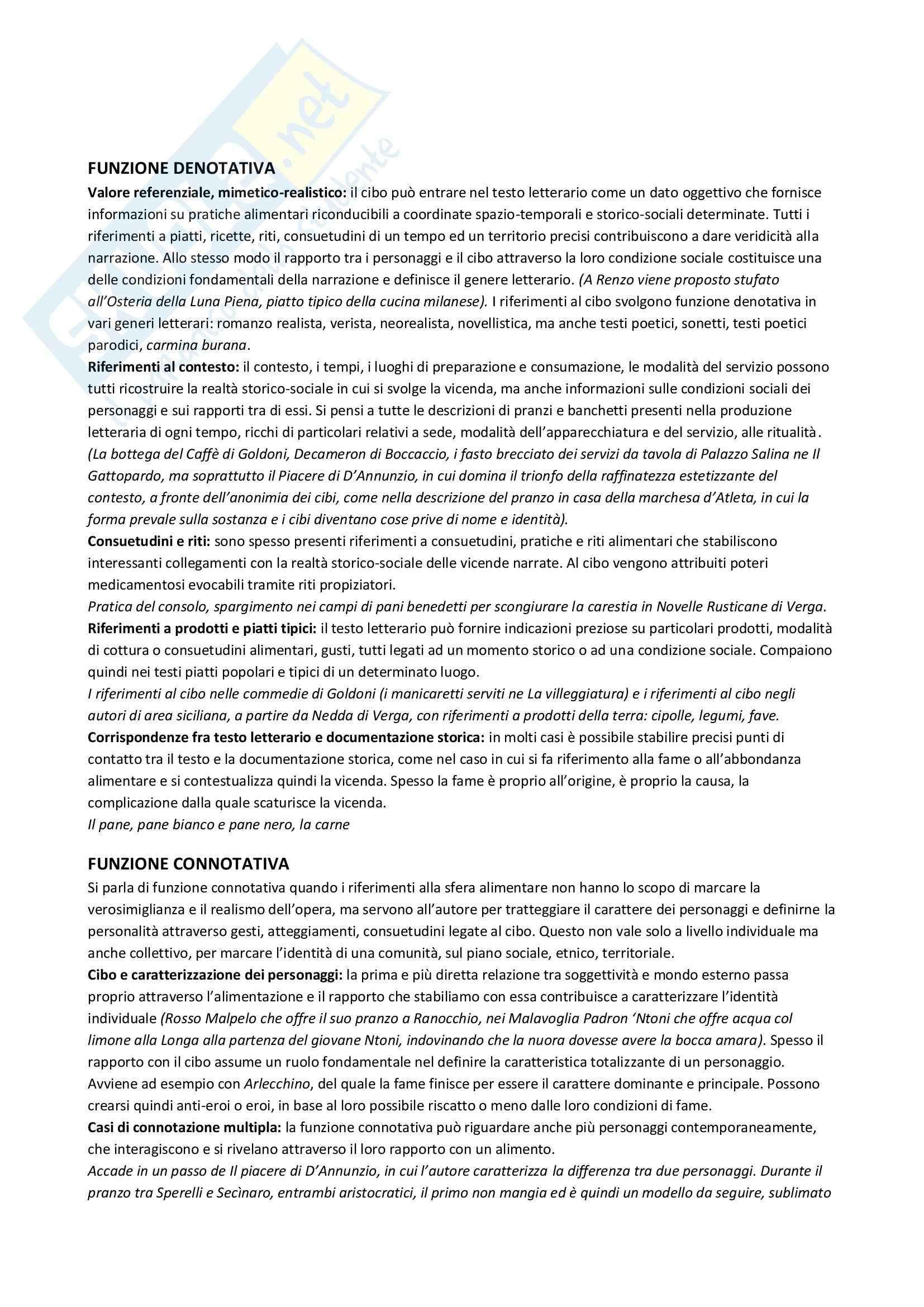 Riassunto esame Letteratura italiana, prof. Ghiazza, libro consigliato Le funzioni del cibo nella letteratura