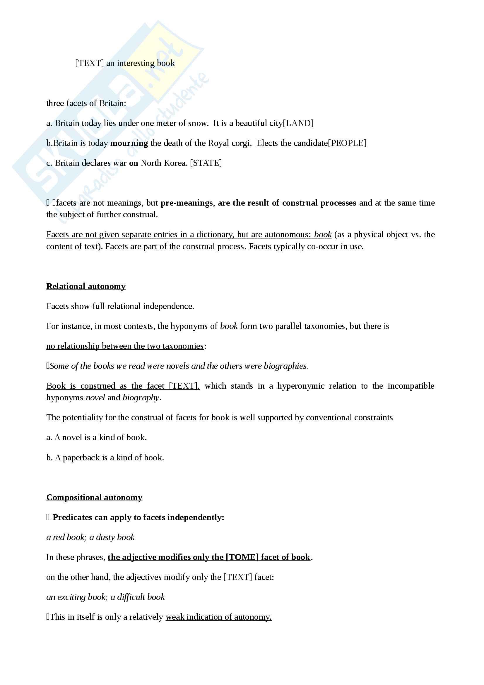 Riassunto esame linguistica inglese,docente Sandford, libri consigliati Cognitive Linguistics Croft, Cruse e Metaphor: A Practical Introduction, Zoltan Kovecses Pag. 36