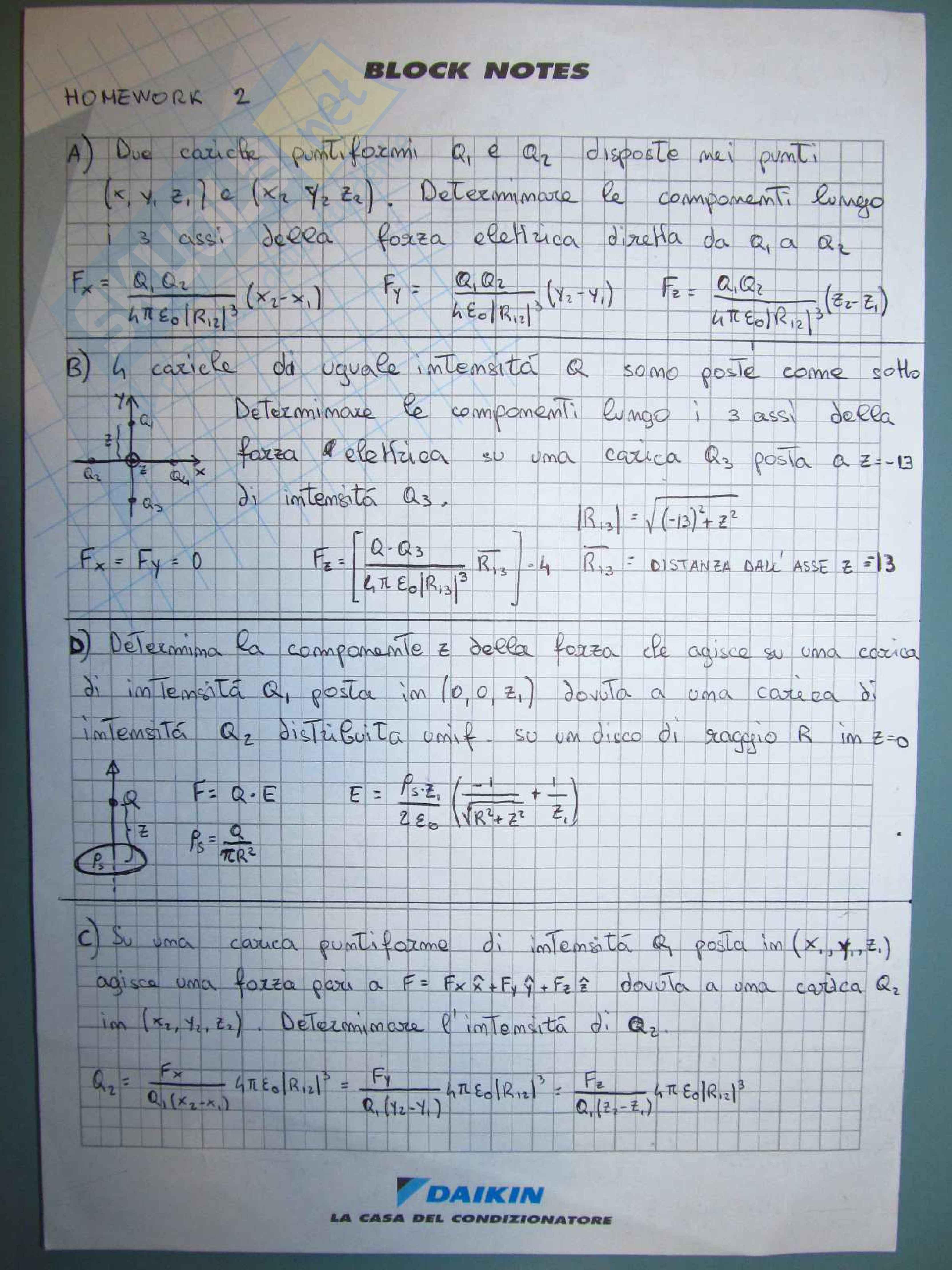 Fondamenti di Elettromagnetismo - Esercizi (homework)