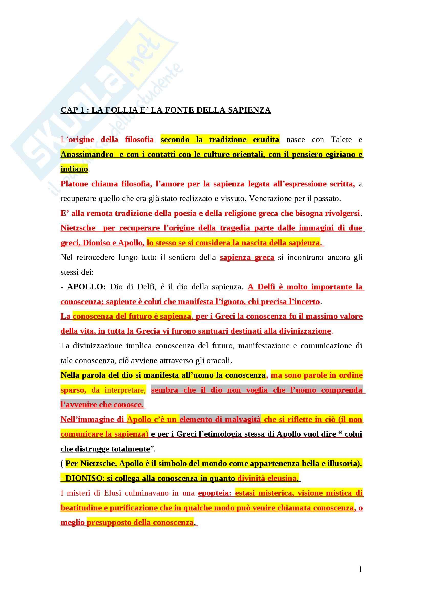 Riassunto esame Storia della filosofia, prof. Fornari, libro consigliato La nuova filosofia, Colli