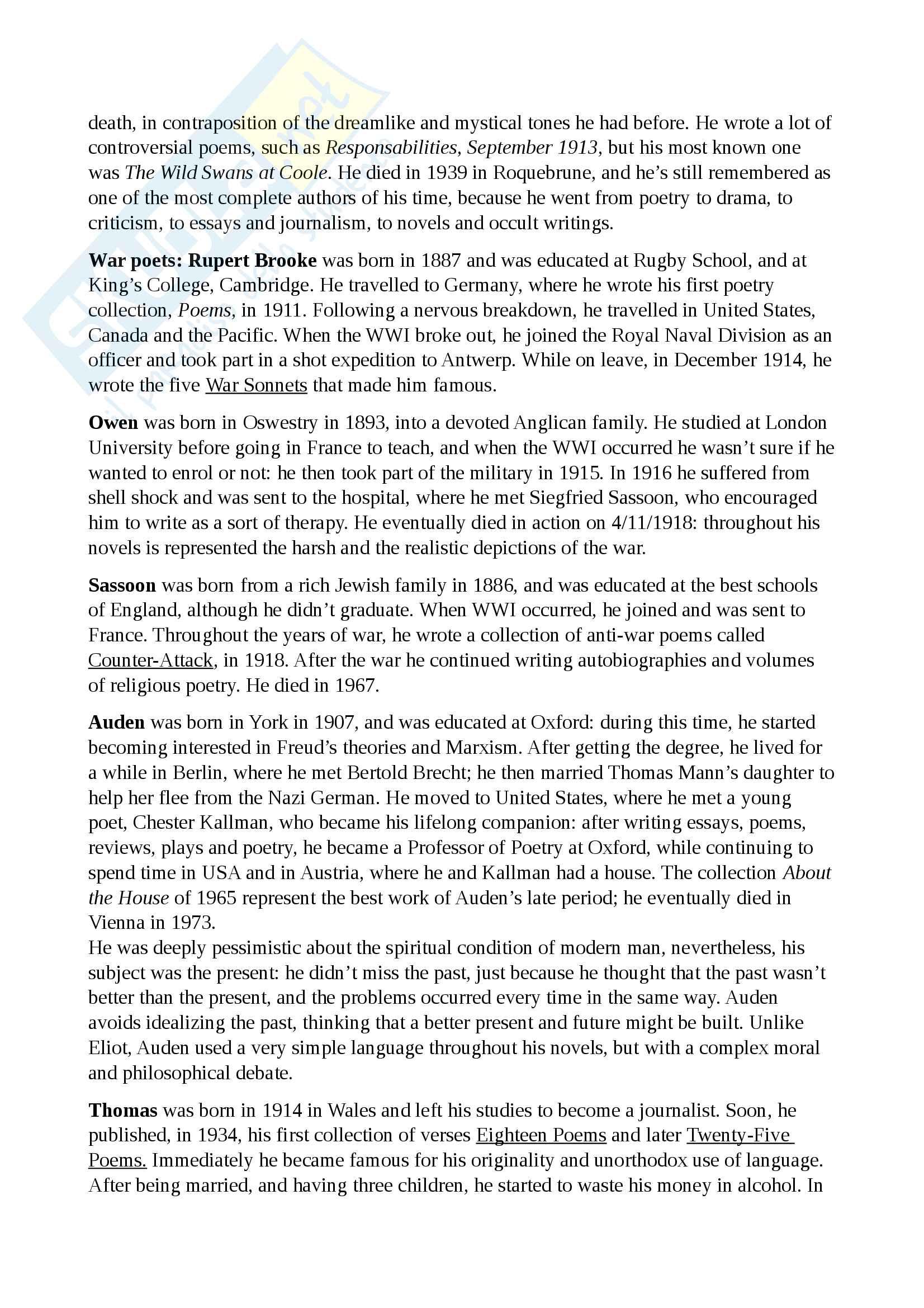 Riassunto esame Cultura e Letteratura Inglese II, prof. Polopoli, libro consigliato Storia della Letteratura Inglese, Bertinetti Pag. 31