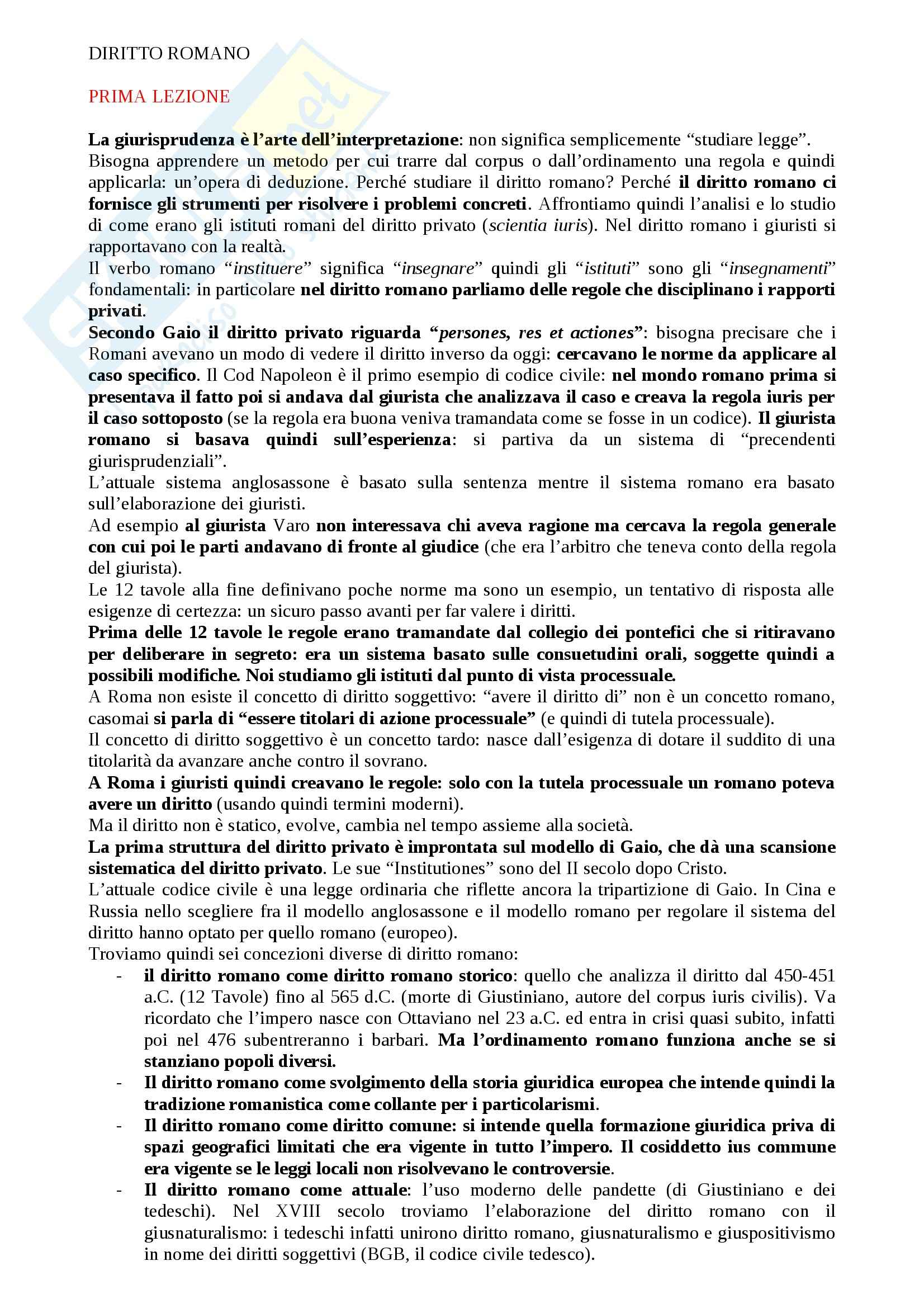 Lezioni, Istituzioni di diritto romano