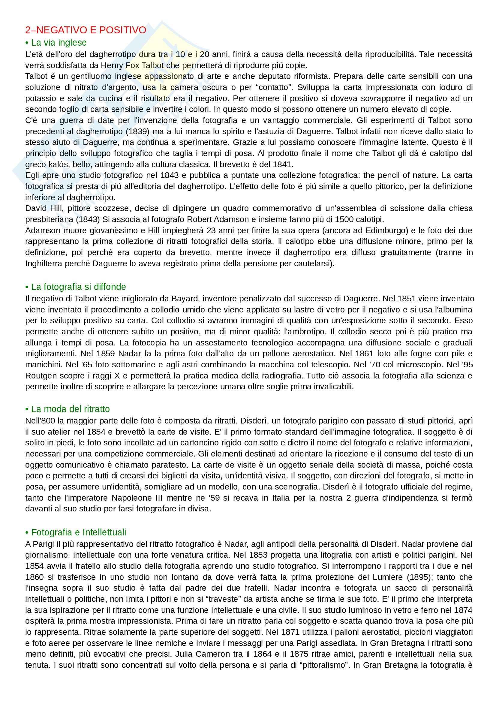 Riassunto esame Storia e critica della fotografia, prof. Menduni, libro consigliato La Fotografia Pag. 2