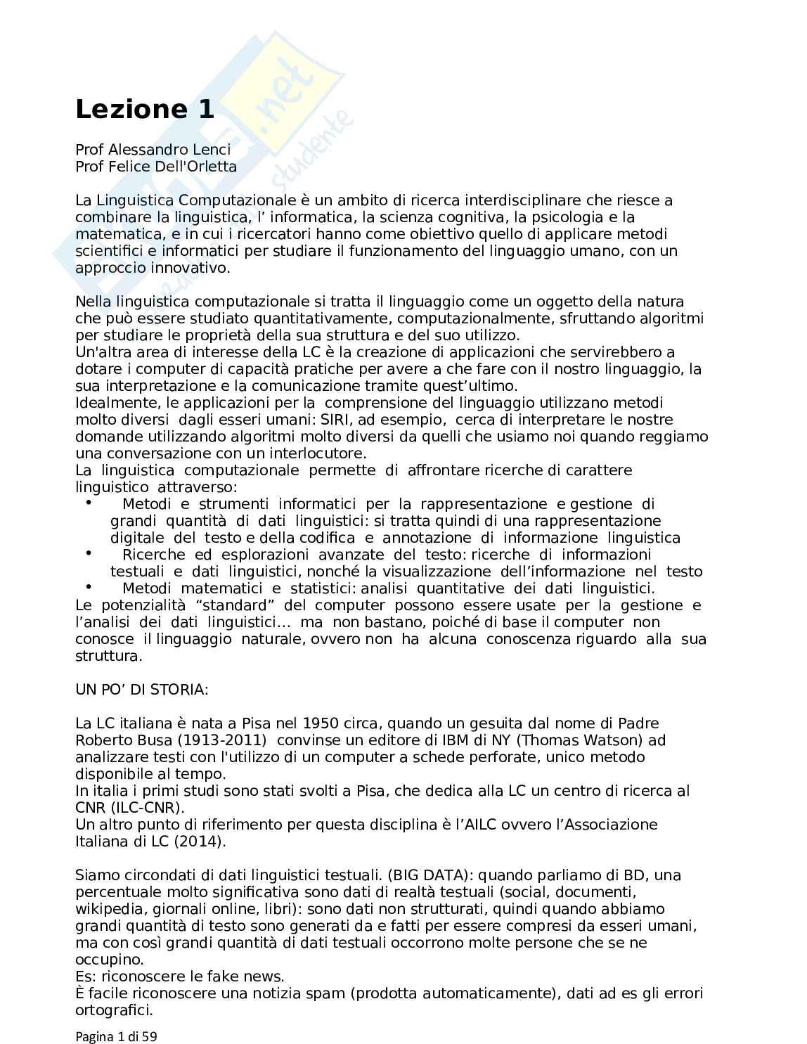 Linguistica Computazionale appunti lezione prof Alessandro Lenci e Felice Dell'Orletta