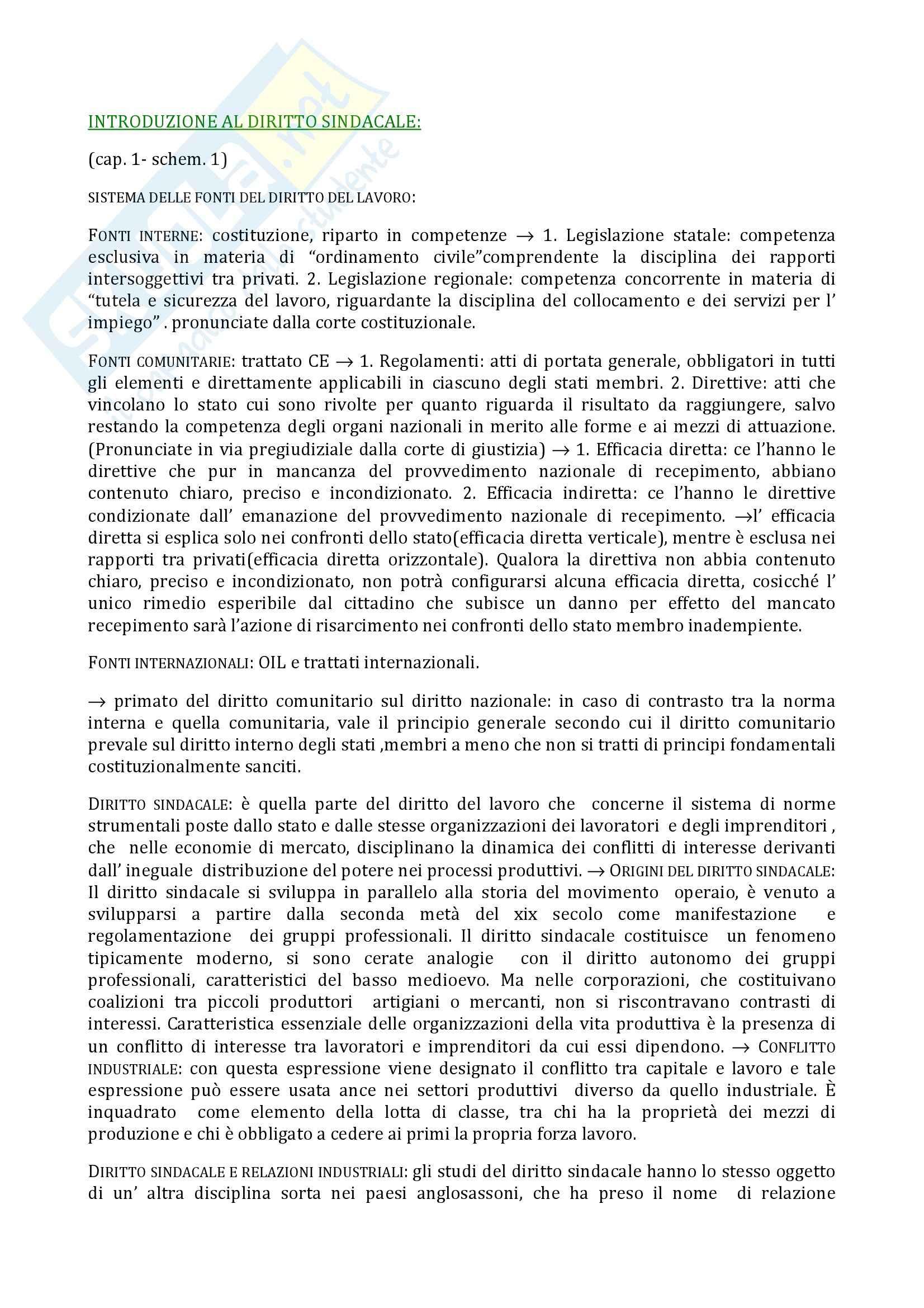 Riassunto esame Diritto del Lavoro, prof. Navilli, libro consigliato Diritto Sindacale, Giugni