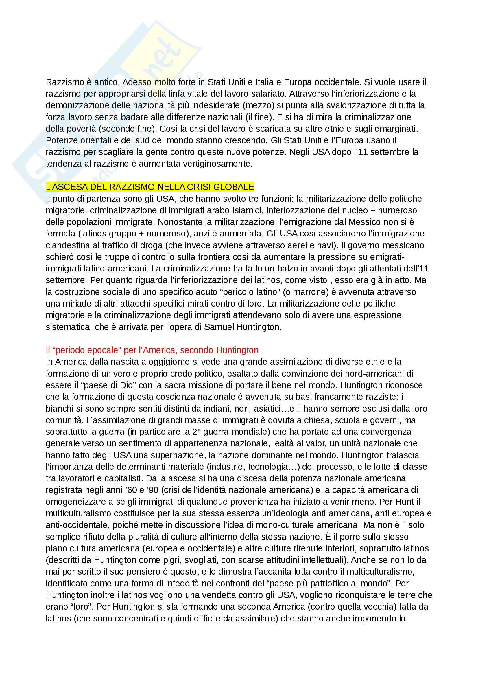 Riassunto esame Sociologia generale, prof. Barrucci, libro consigliato Razzismo di Stato, Stati Uniti, Europa, Italia, Basso