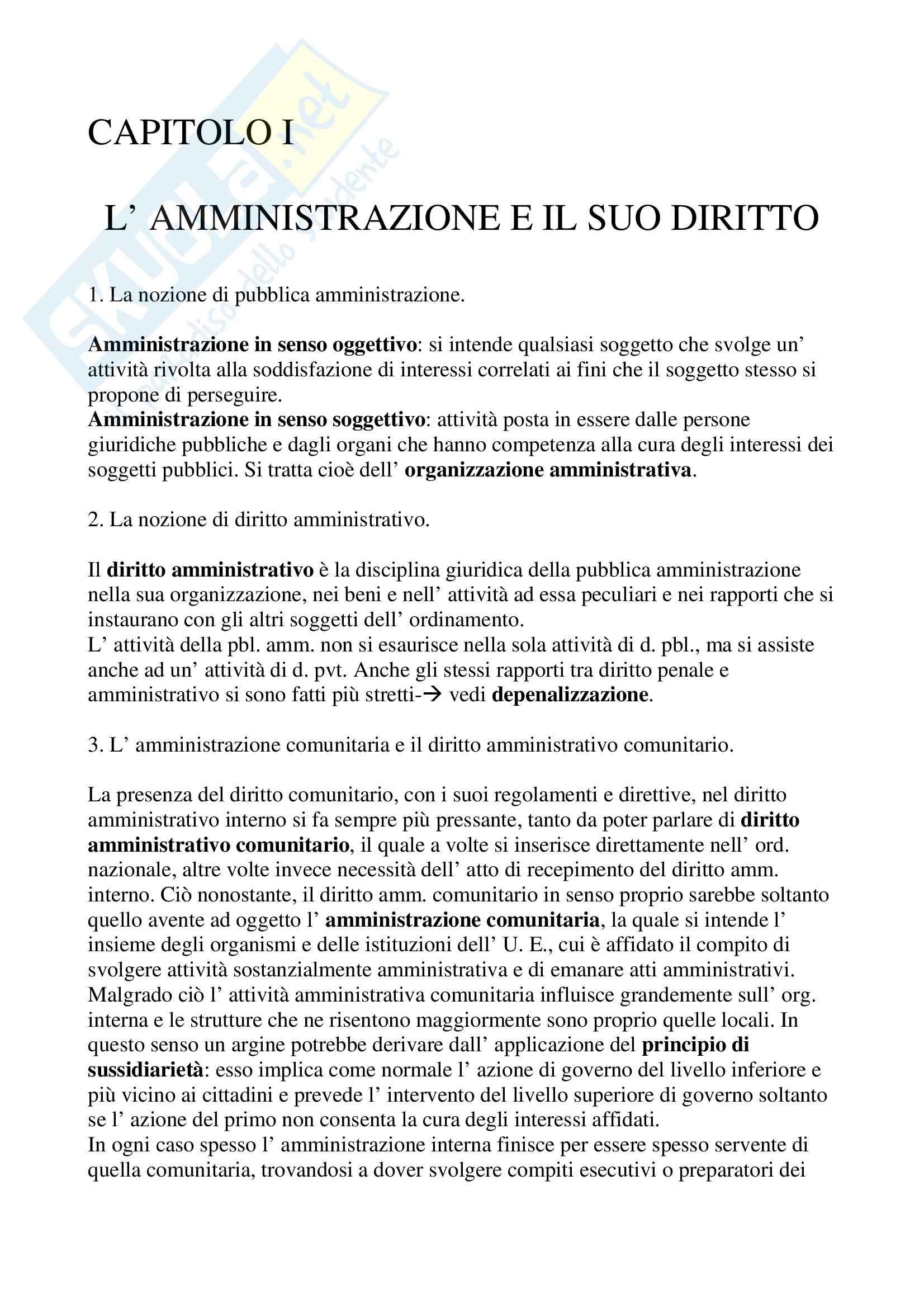 Riassunto esame Diritto Amministrativo, prof. Caia, libro consigliato Compendio di diritto amministrativo, Casetta