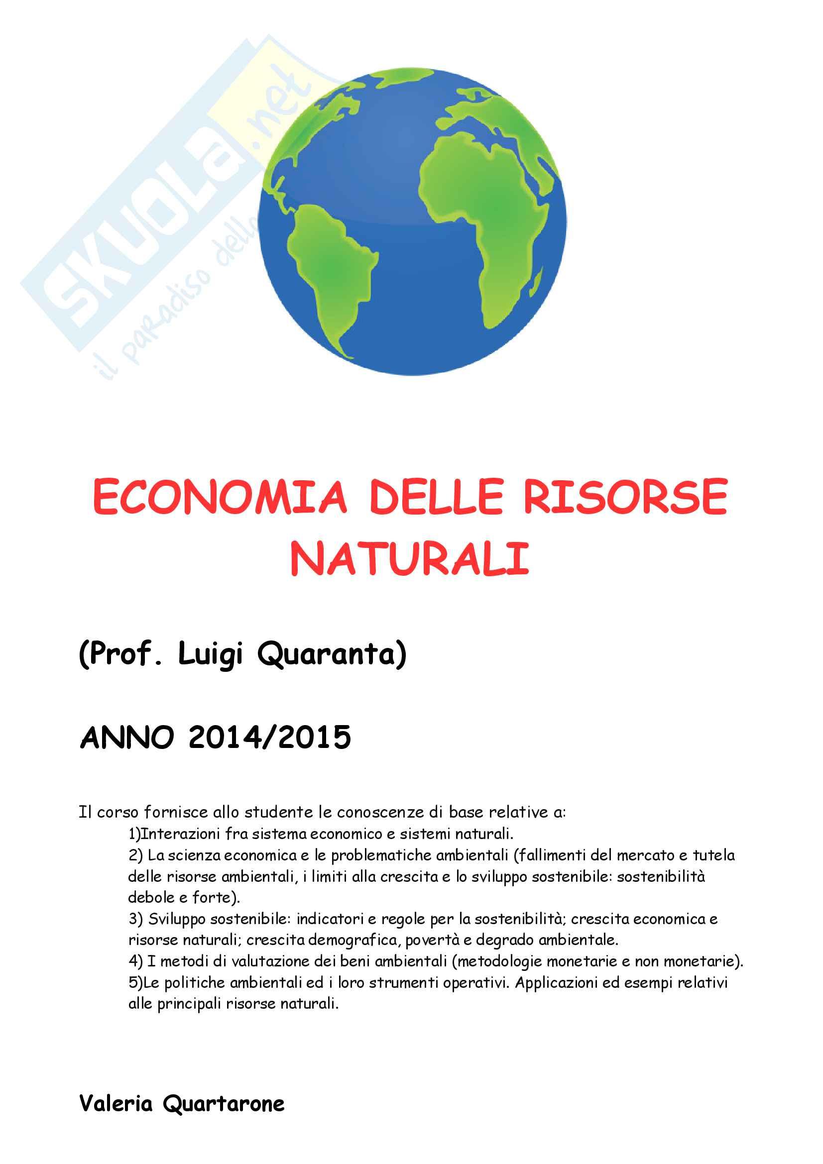 Economia delle risorse naturali, Prof. Quaranta