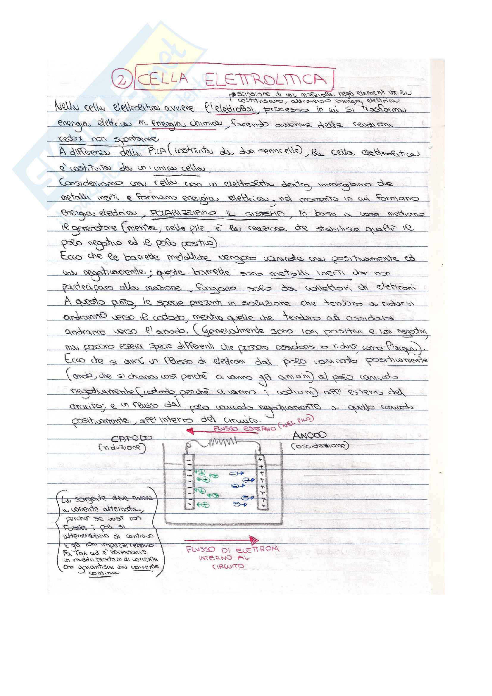 Appunti di chimica su Celle elettrolitiche e Leggi di Faraday