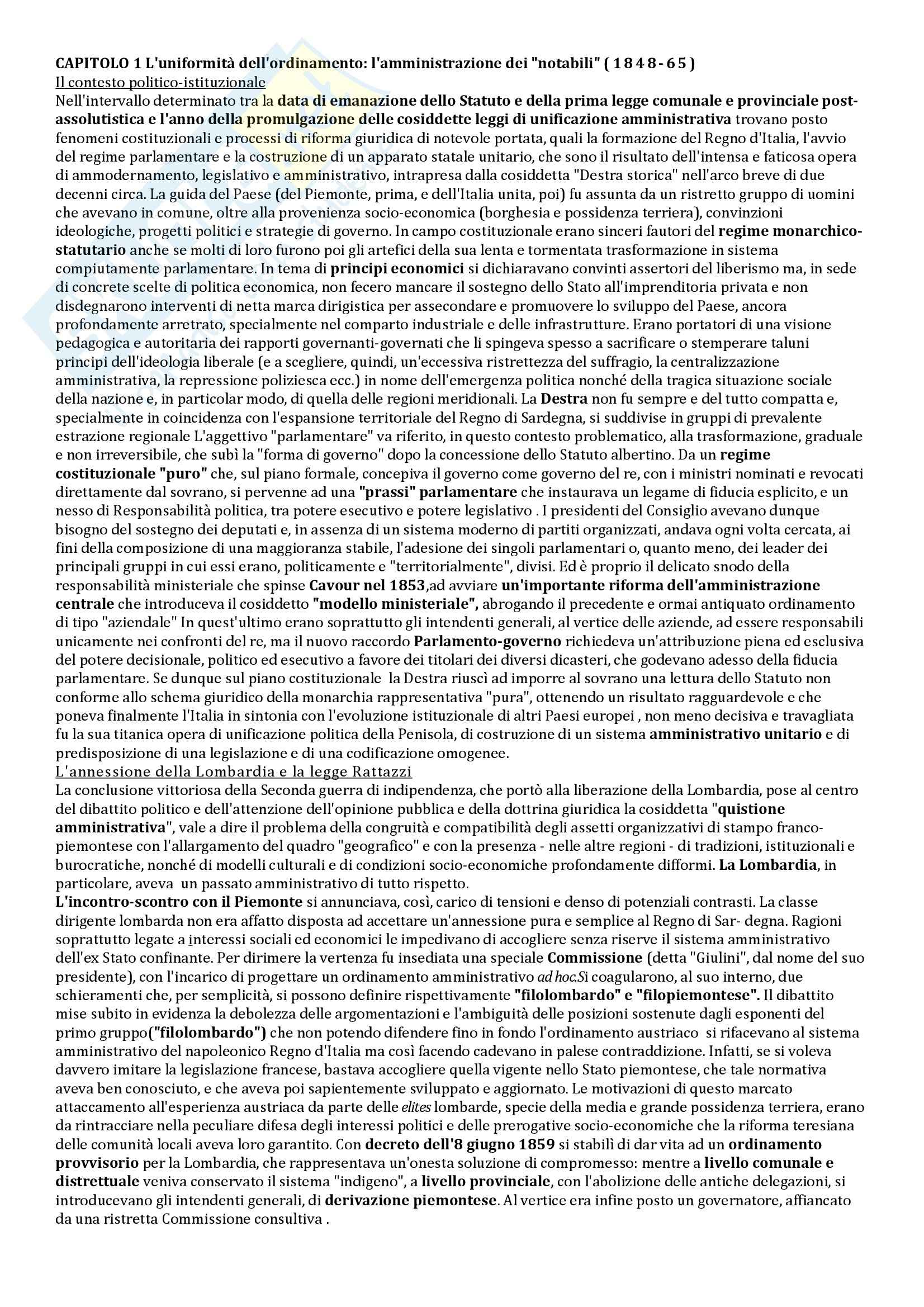 Riassunto esame Storia delle Istituzioni, prof. Bobbi, libro consigliato Stato e poteri locali in Italia, Aimo