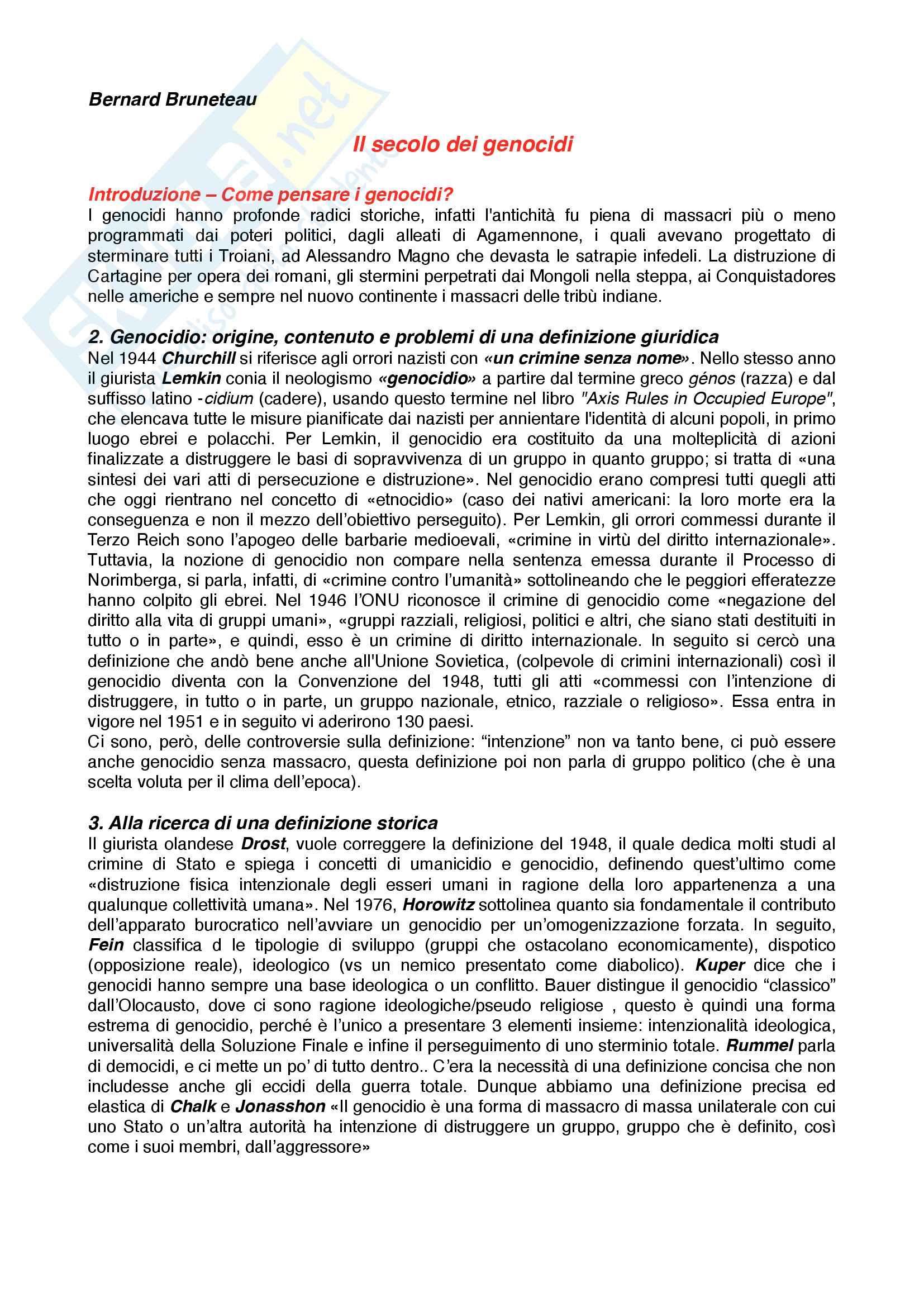 Riassunto esame Storia contemporanea, prof. Novarino, libro consigliato Il secolo dei genocidi,Bruneteau