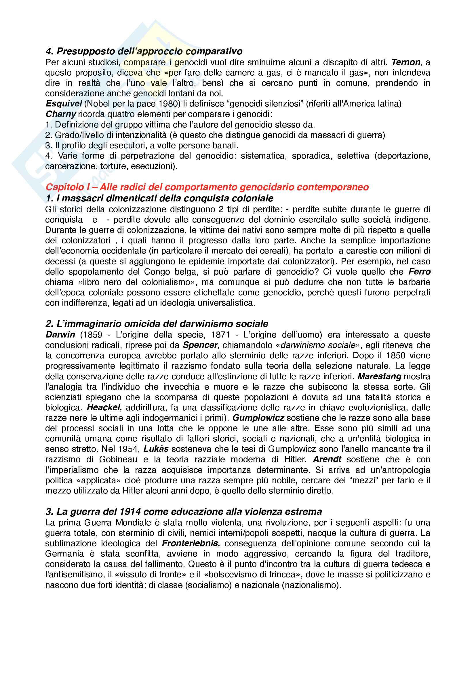 Riassunto esame Storia contemporanea, prof. Novarino, libro consigliato Il secolo dei genocidi,Bruneteau Pag. 2