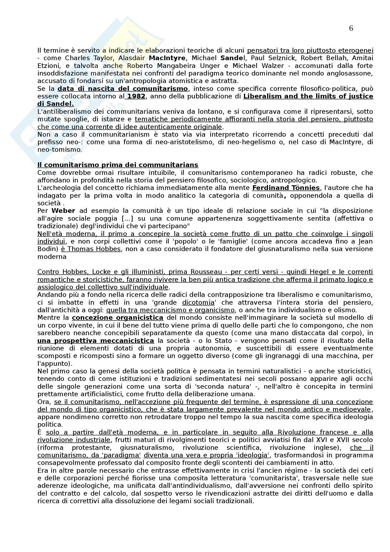 Riassunto esame Filosofia Politica, prof. Valentini, libro consigliato Comunitarismo, Rawls Pag. 6