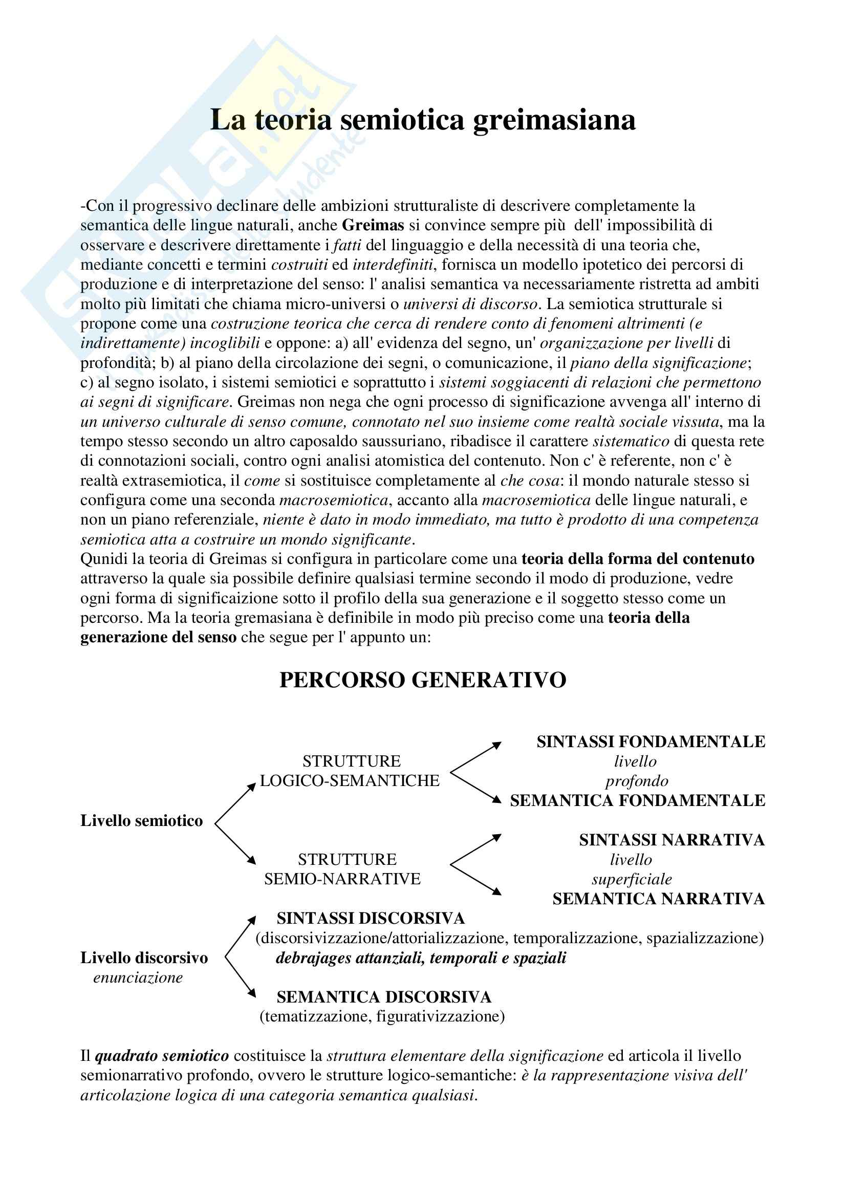 Semiotica - la teoria semiotica greimasiana