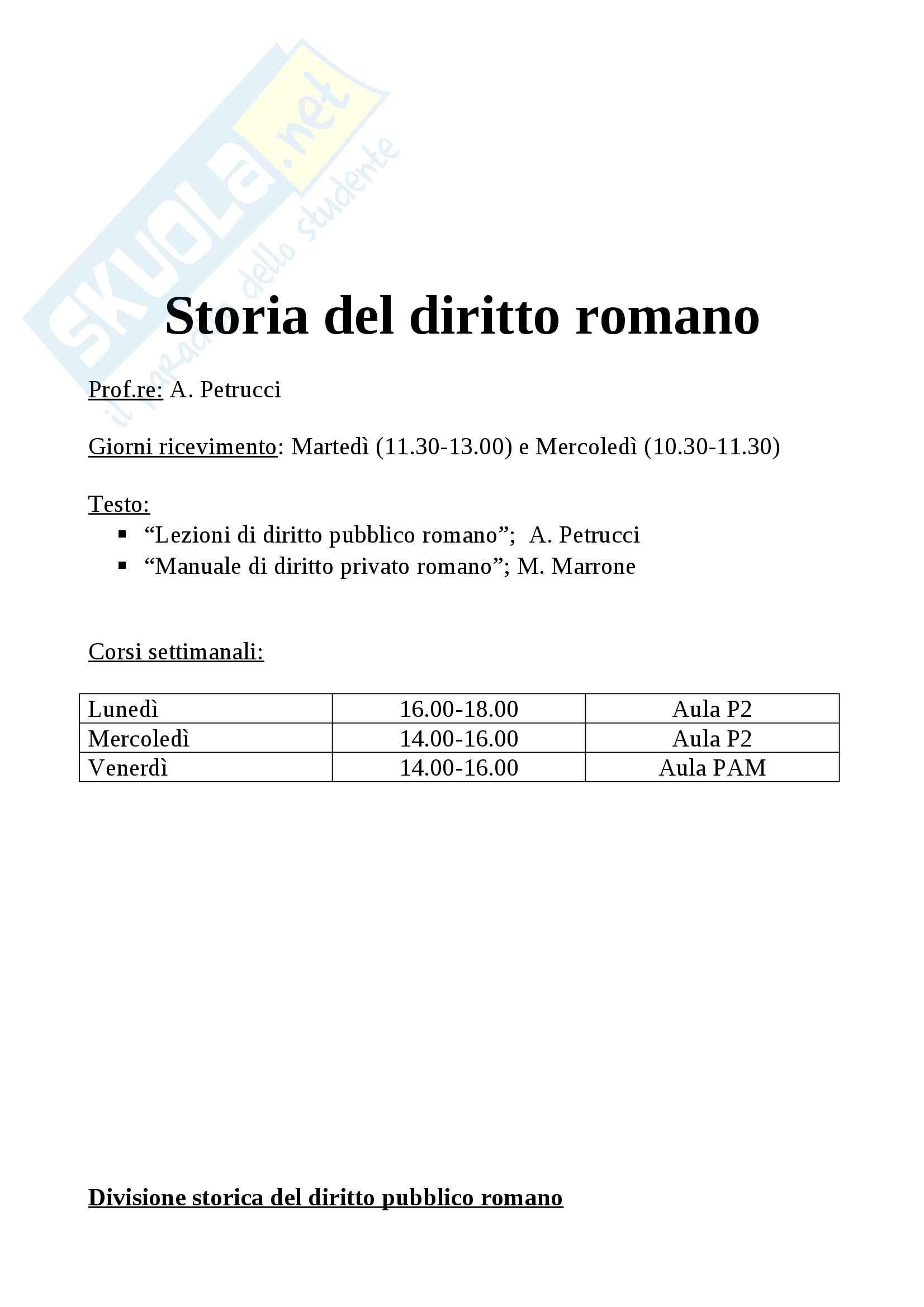 appunto A. Petrucci Storia del diritto romano