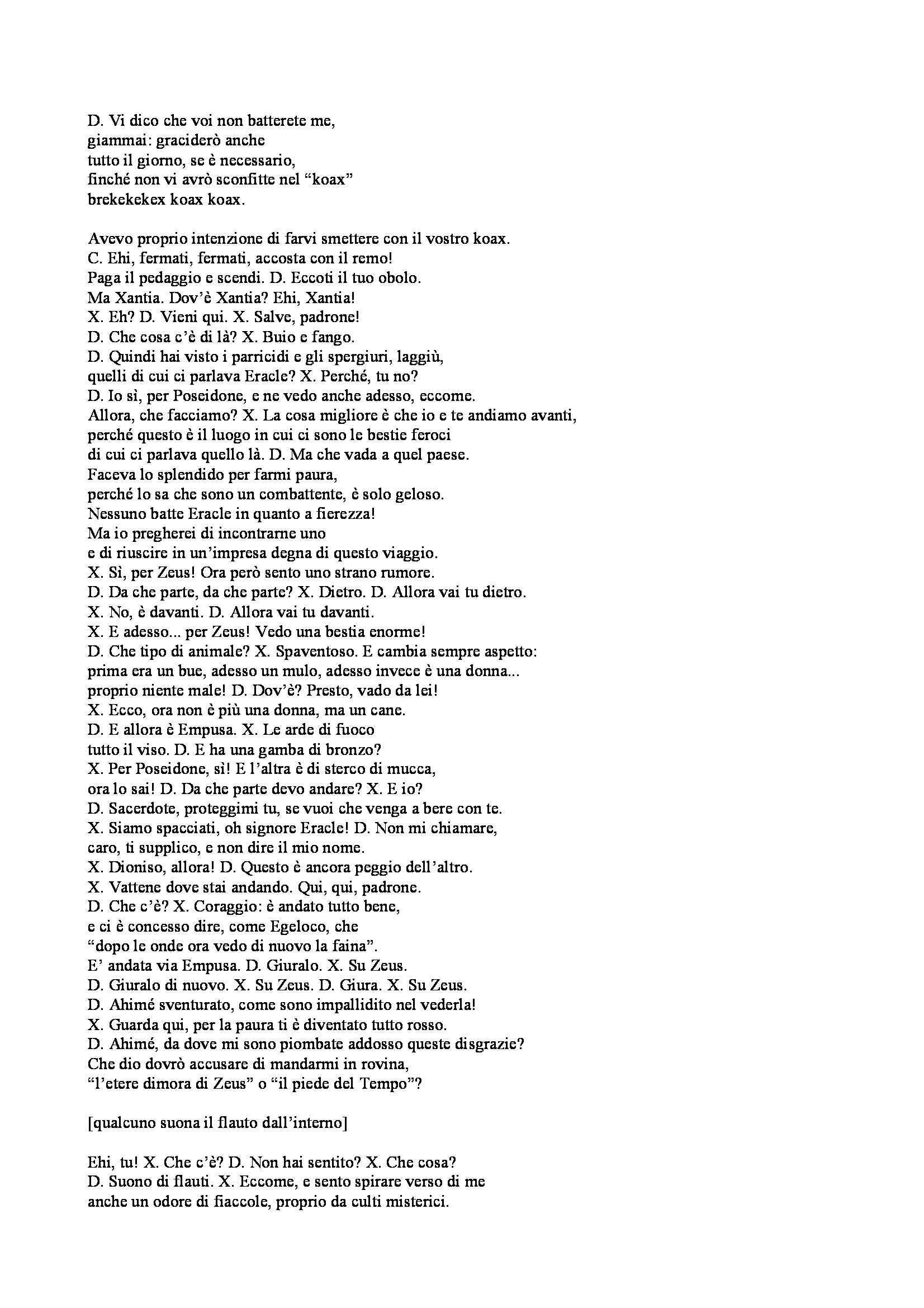 """Filologia greca - Aristofane, """"Le Rane"""", traduzione letterale Pag. 6"""