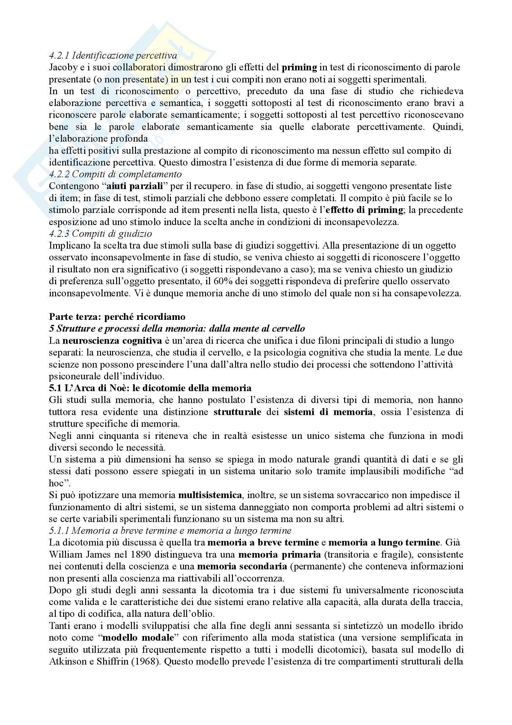 Psicologia dell'apprendimento e della memoria – Bradimonte – Riassunto esame Pag. 11