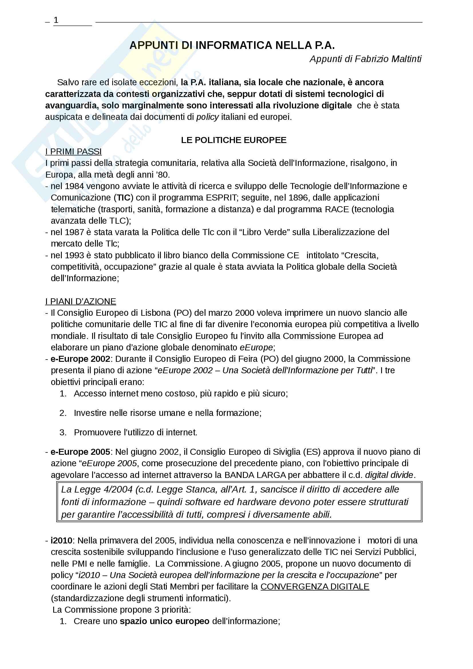 Appunti di Informatica nelle P A
