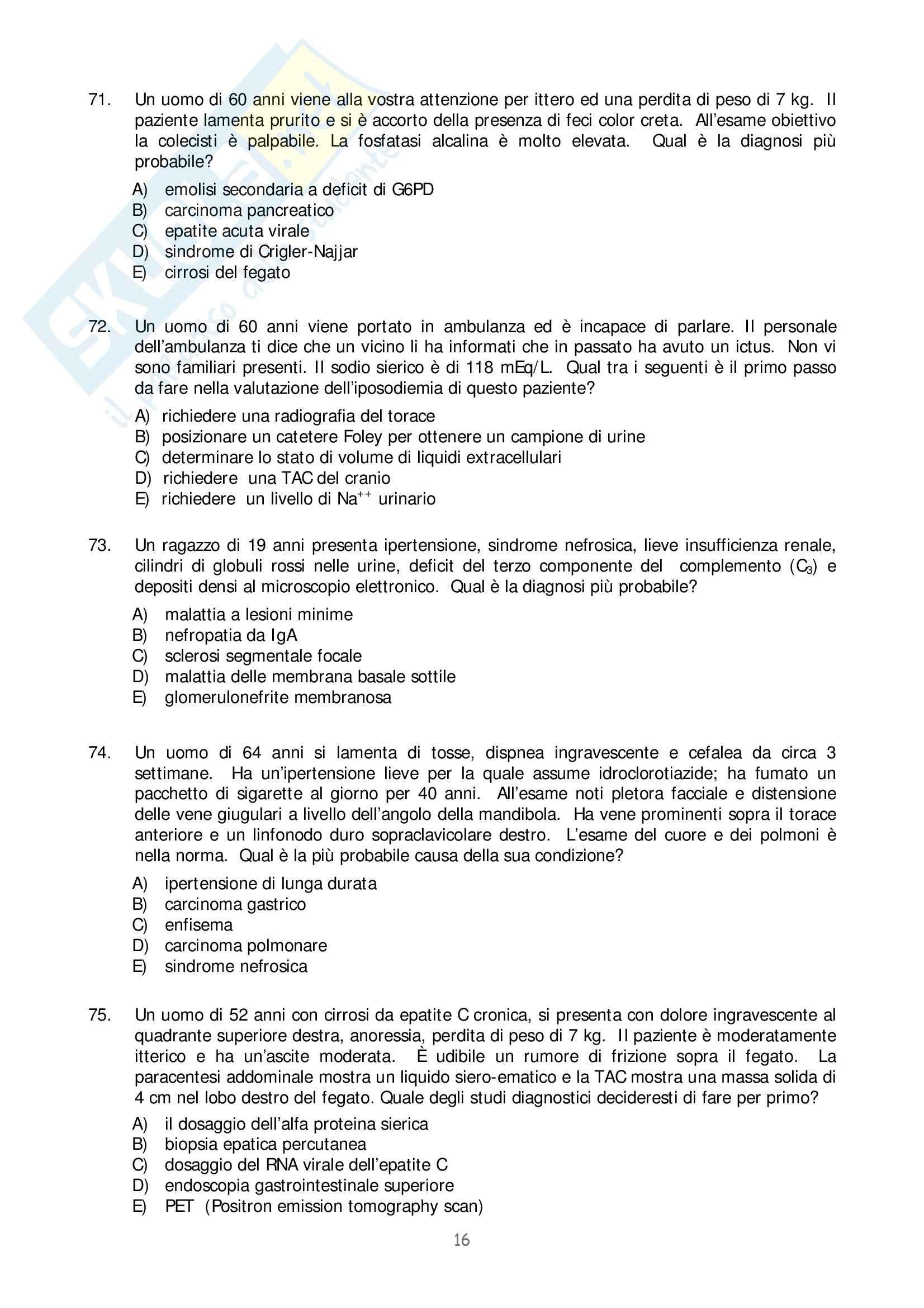 Medicina interna - test prima parte Pag. 16