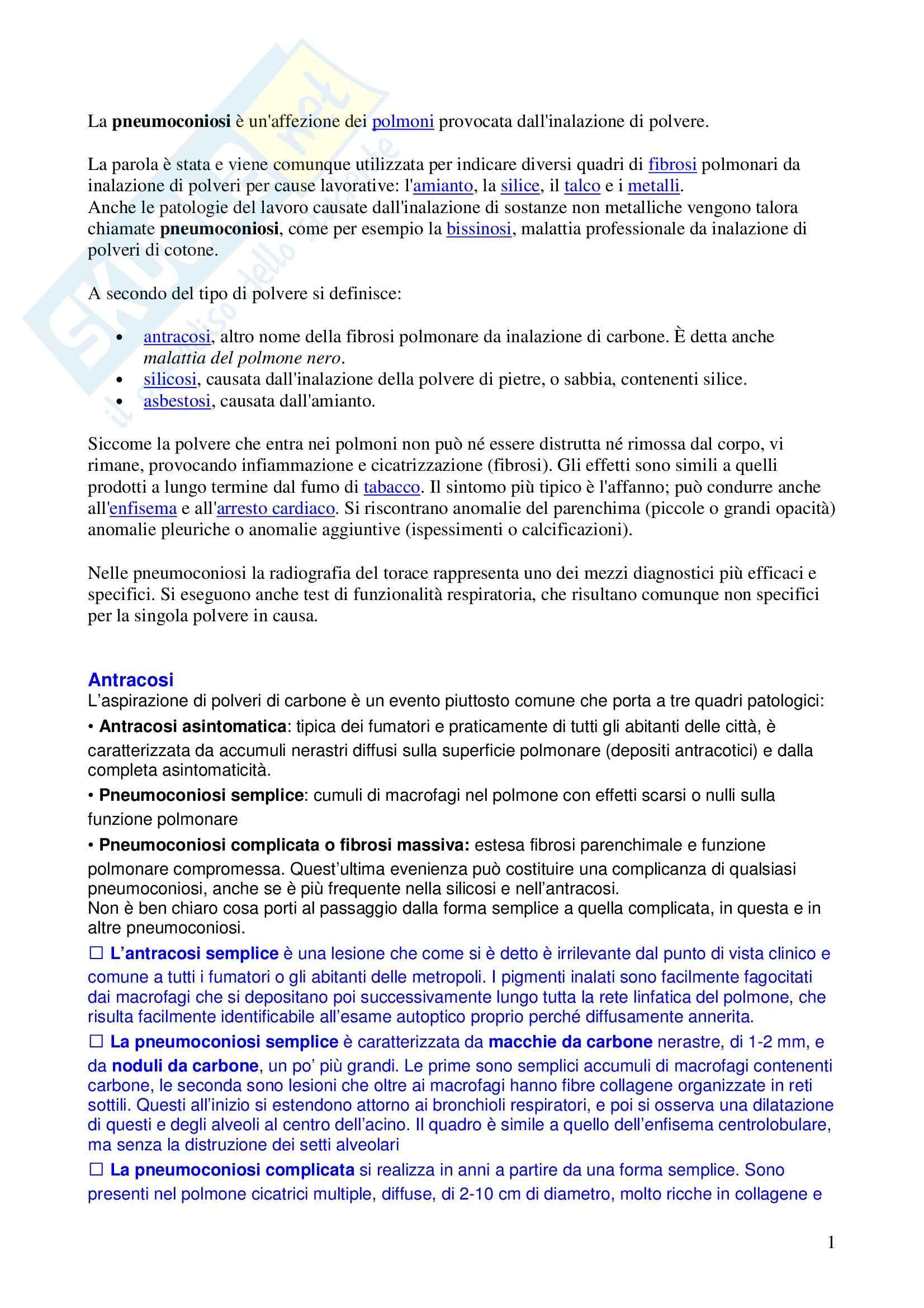 Anatomia patologica - pneumoconiosi