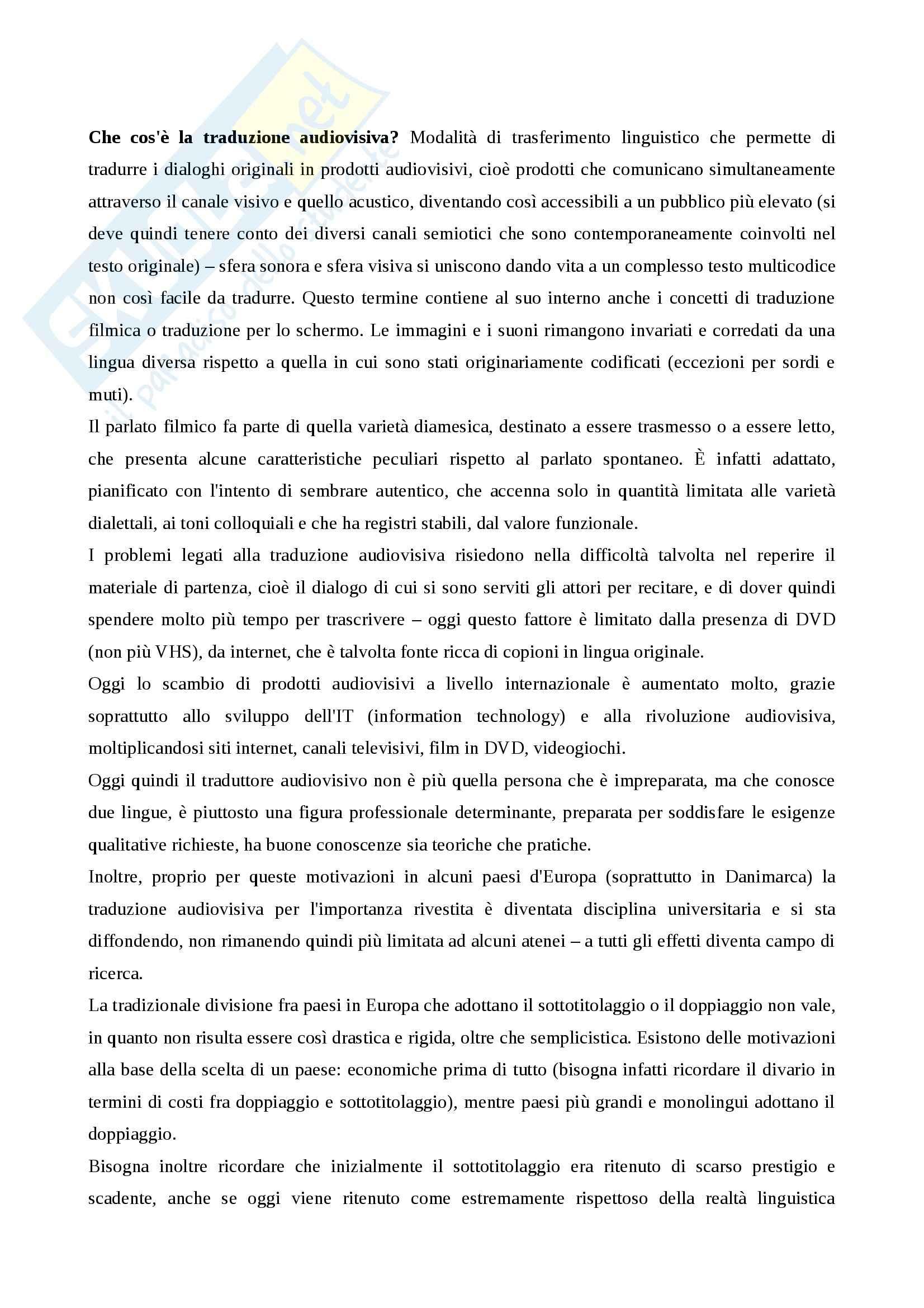 Riassunto esame Teoria e Tecnica della Traduzione, prof. Salmon, libro consigliato La Traduzione Audiovisiva, Perego