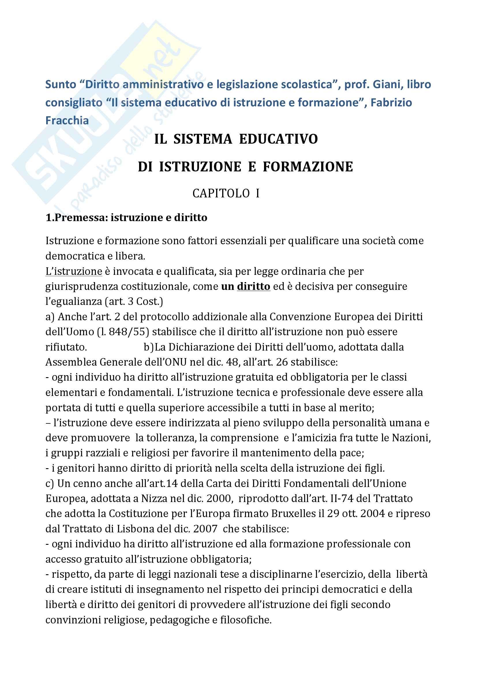 """Riassunto esame """"Diritto amministrativo e legislazione scolastica"""", prof. Giani, libro consigliato """"Il sistema educativo di istruzione e formazione"""" - prima parte, Fabrizio Fracchia"""