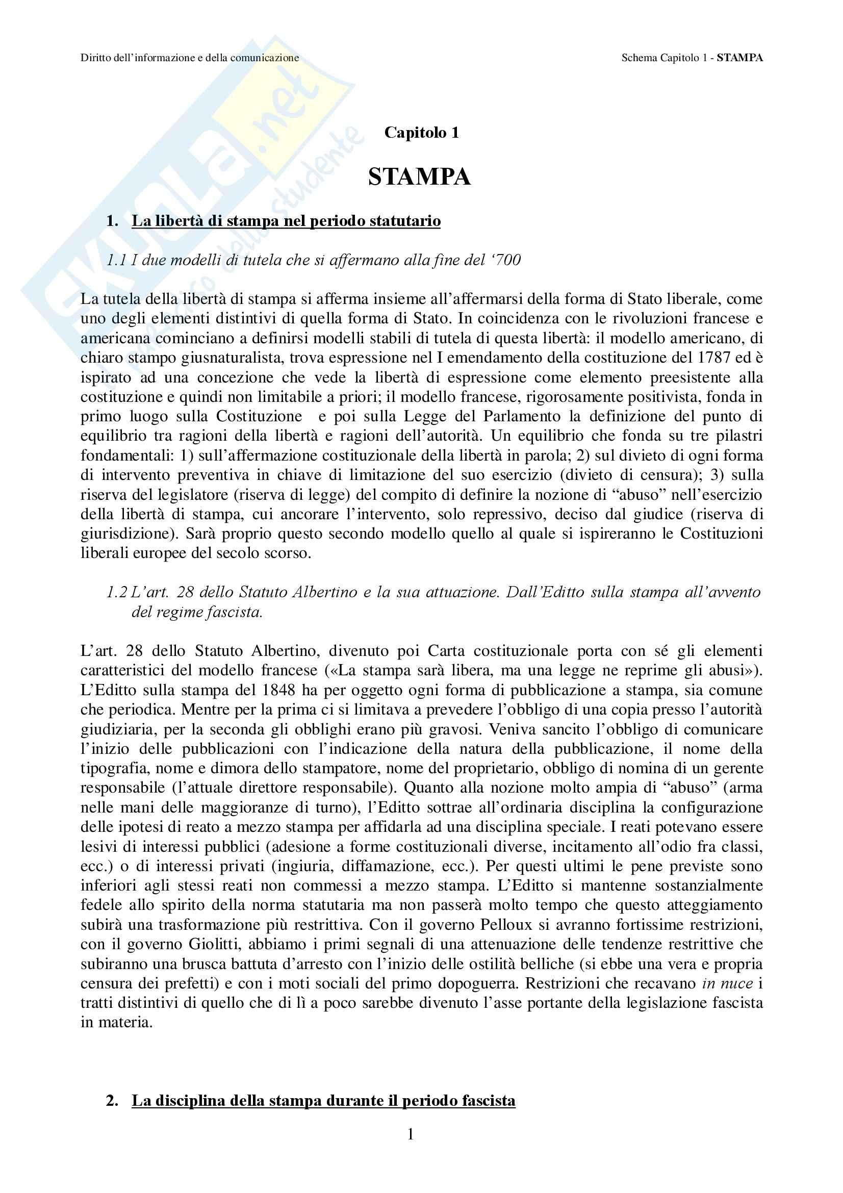 Diritto dell'informazionee della comunicazione – Comunicazione di massa