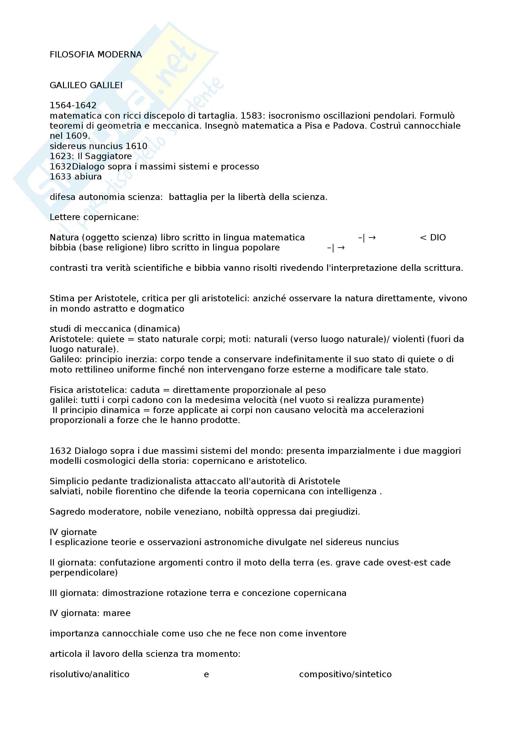Riassunto esame Storia della filosofia moderna, prof. Burgio, libro consigliato Storia della filosofia: da Galilei a Nietzsche, Abbagnano, Fornero