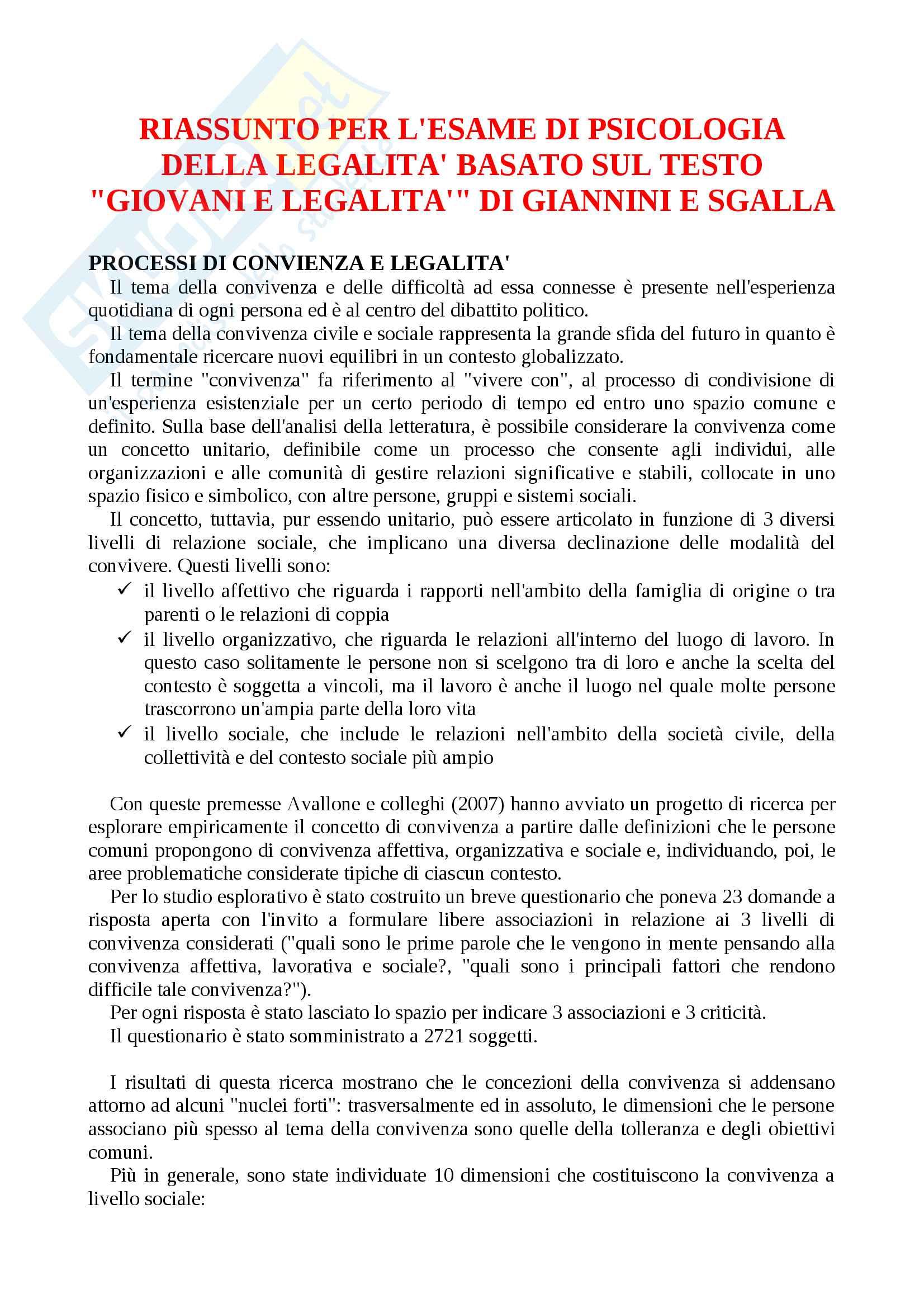 """Riassunto per l'esame di psicologia della legalità, testo consigliato """"Giovani e legalità"""" di Giannini e Sgalla"""