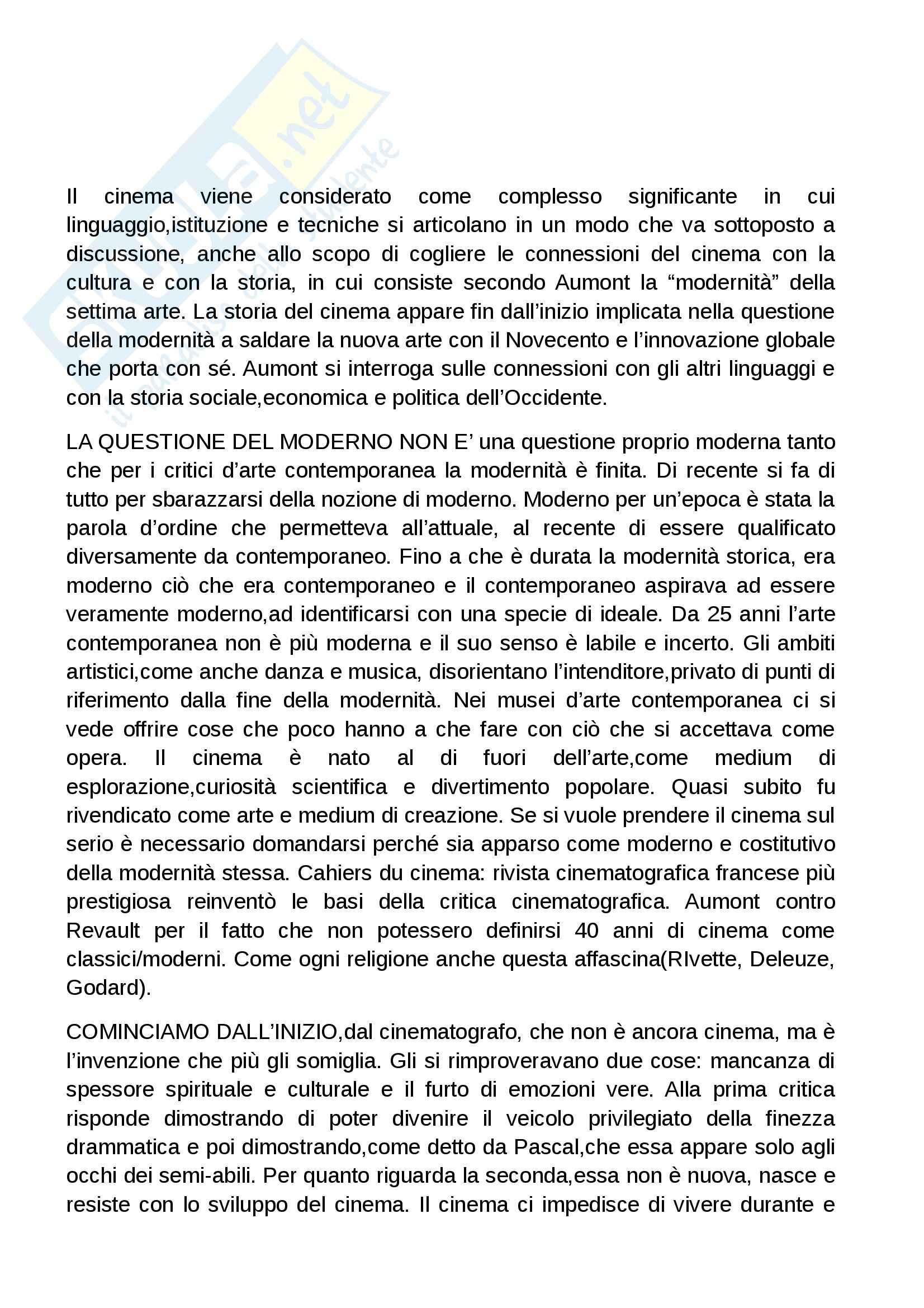 Riassunto esame Cinema, prof. Cervini, libro consigliato Moderno, Come il cinema diventato la più singolare delle arti, Aumont