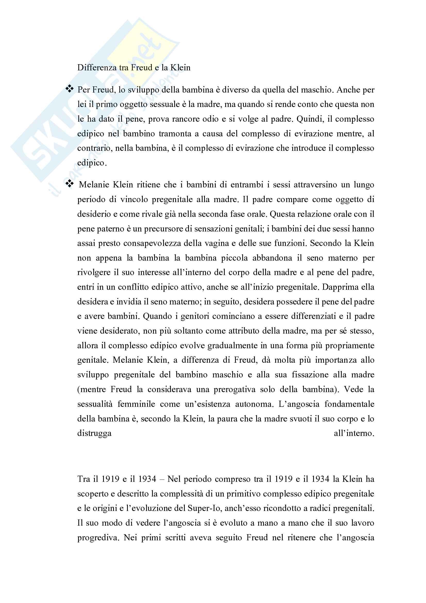 Riassunto esame Psicologia dinamica, prof. Guerriera Carmela, libro consigliato Melanie Klein, Segal H Pag. 11