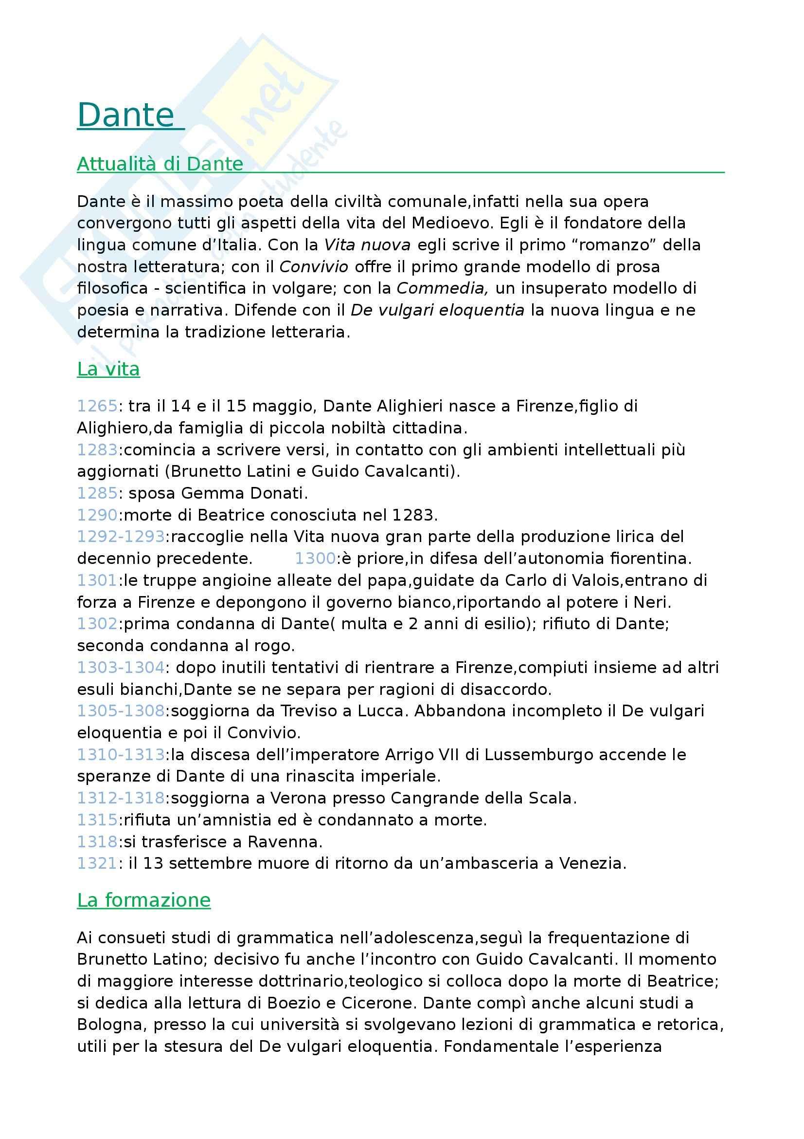Letteratura italiana - Dante Alighieri
