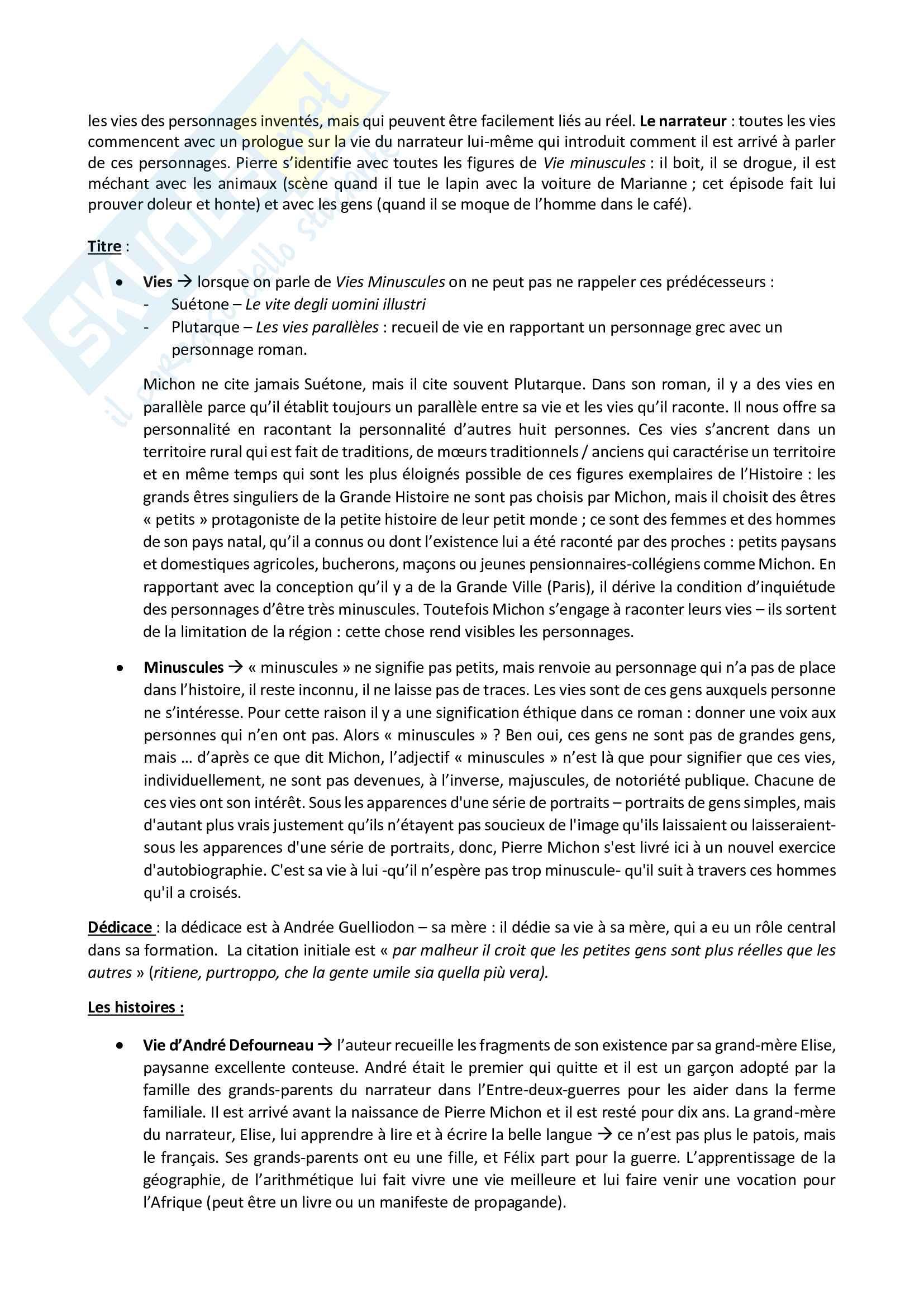 Appunti (in francese) di Pierre Michon (vita, opere, analisi completa Vite minuscole) - Letteratura francese Pag. 2