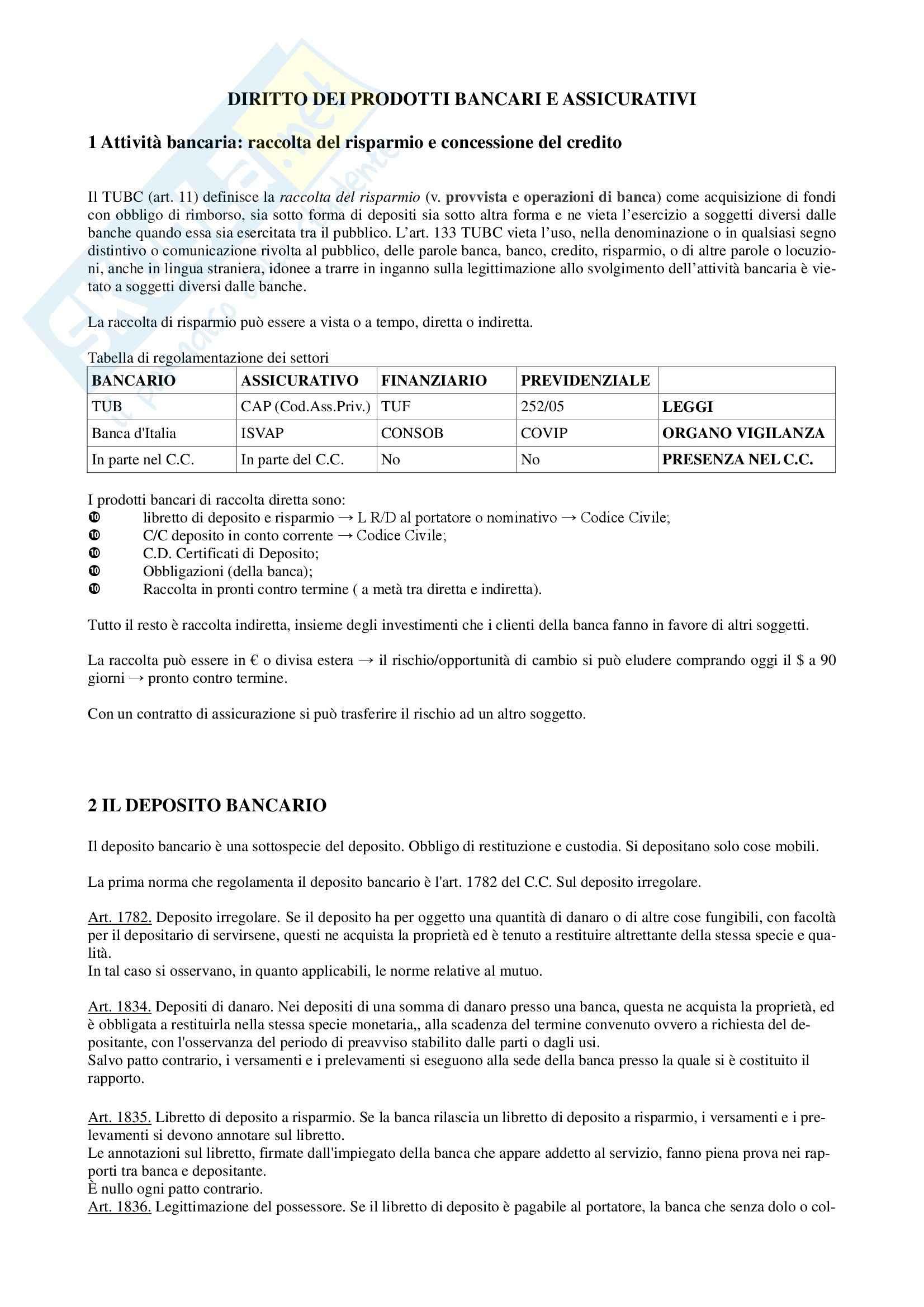 Diritto dei Prodotti Bancari e Assicurativi - Appunti