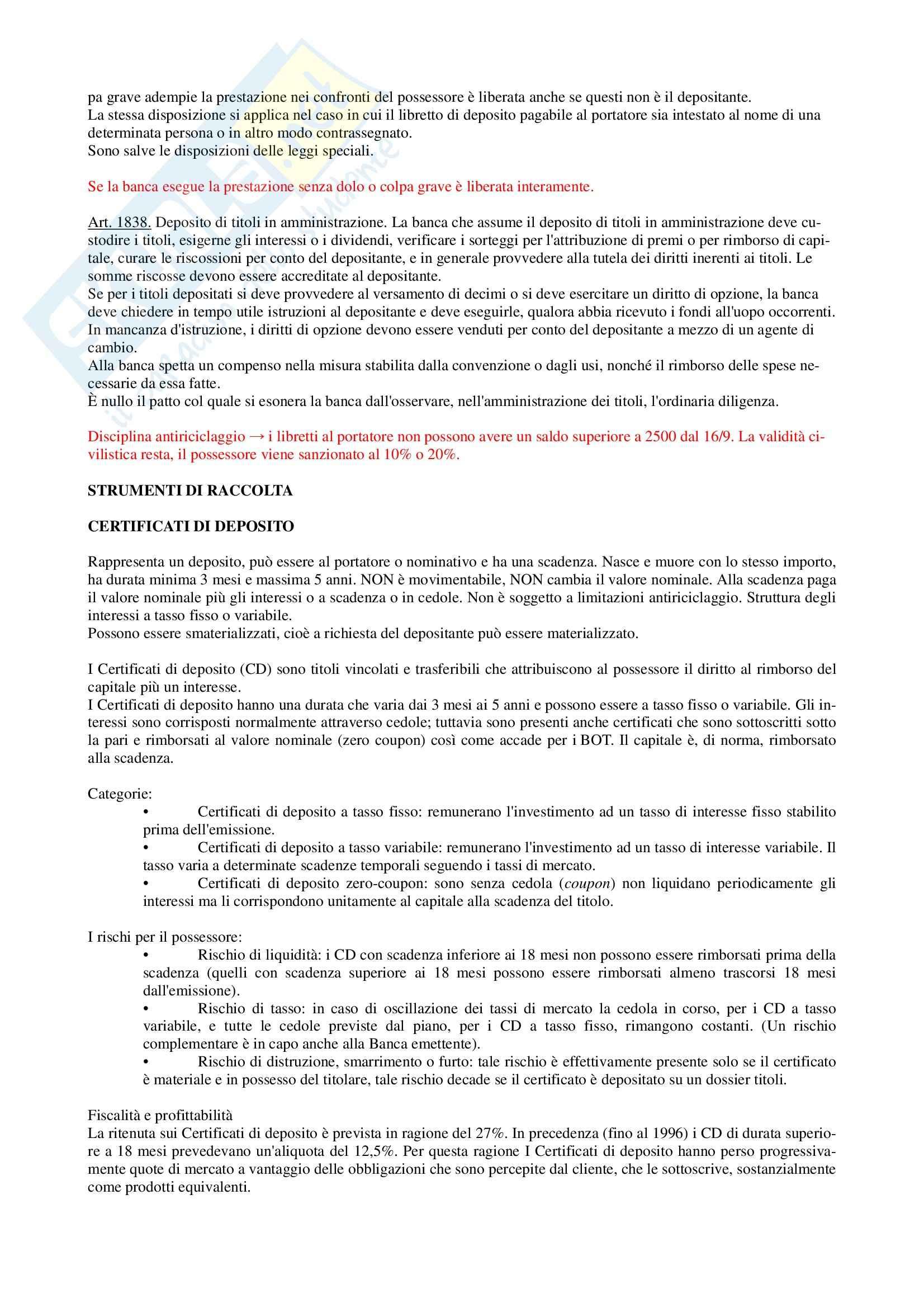 Diritto dei Prodotti Bancari e Assicurativi - Appunti Pag. 2