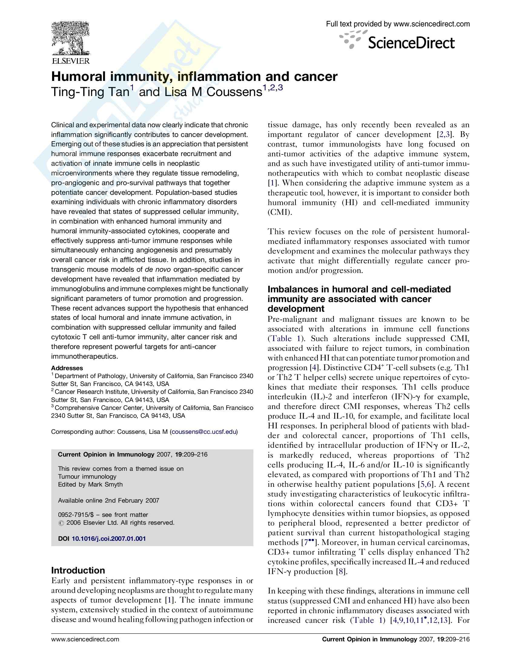 Patologia e fisiopatologia generale - infiammazione e tumori prima parte